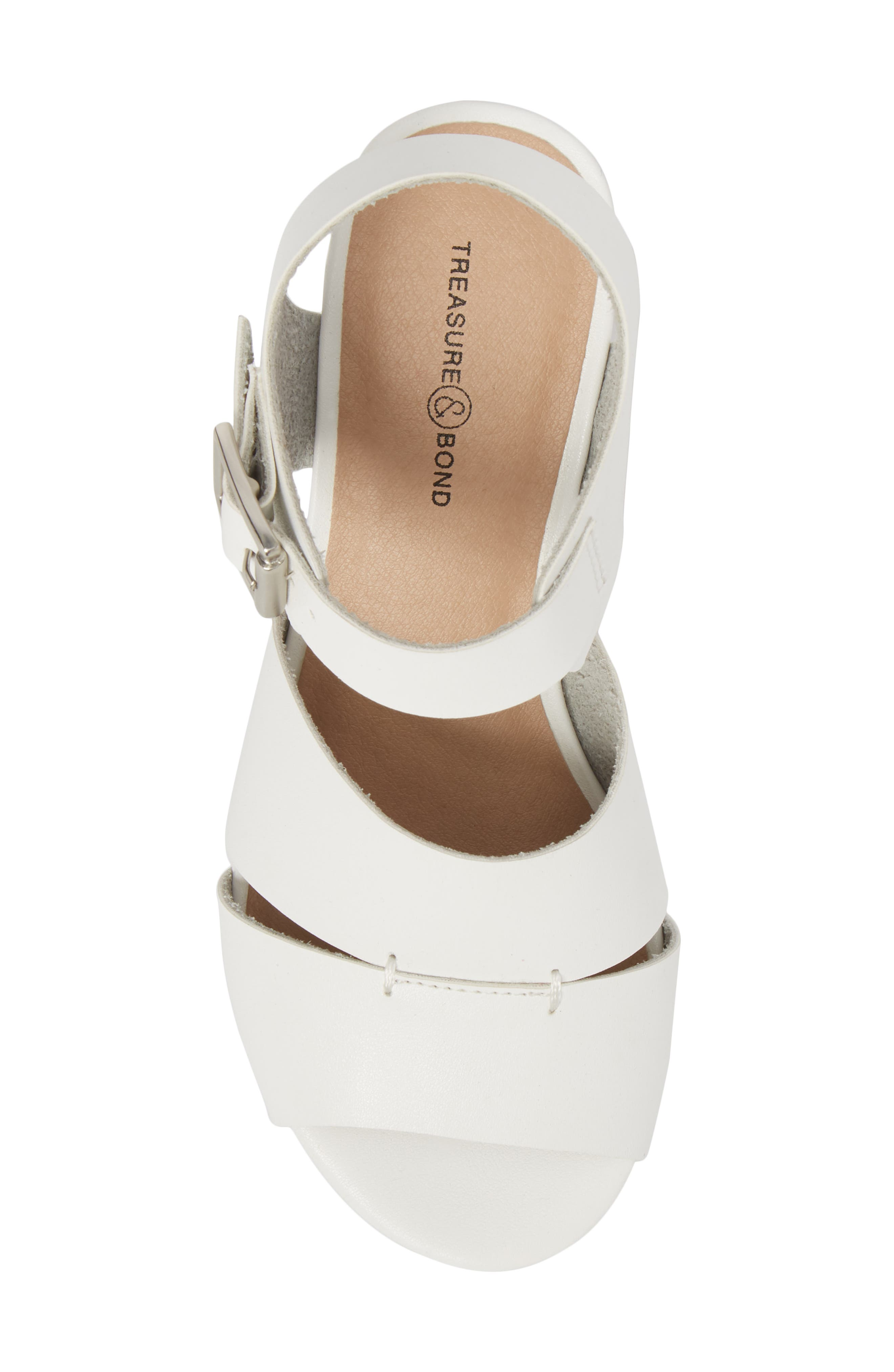 Hunter Platform Wedge Sandal,                             Alternate thumbnail 5, color,                             White Faux Leather