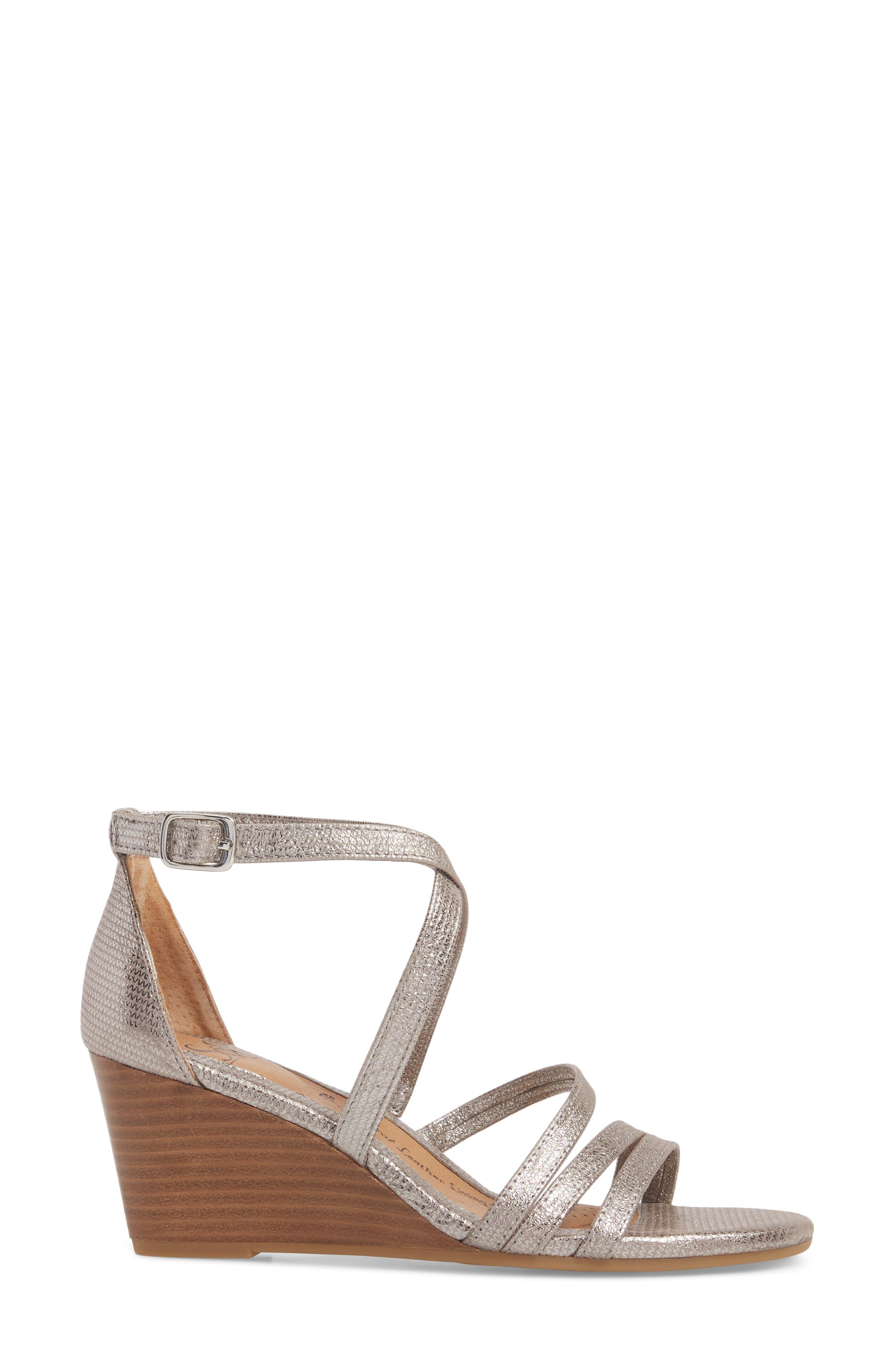 Mecina Wedge Sandal,                             Alternate thumbnail 3, color,                             Silver Metallic Leather