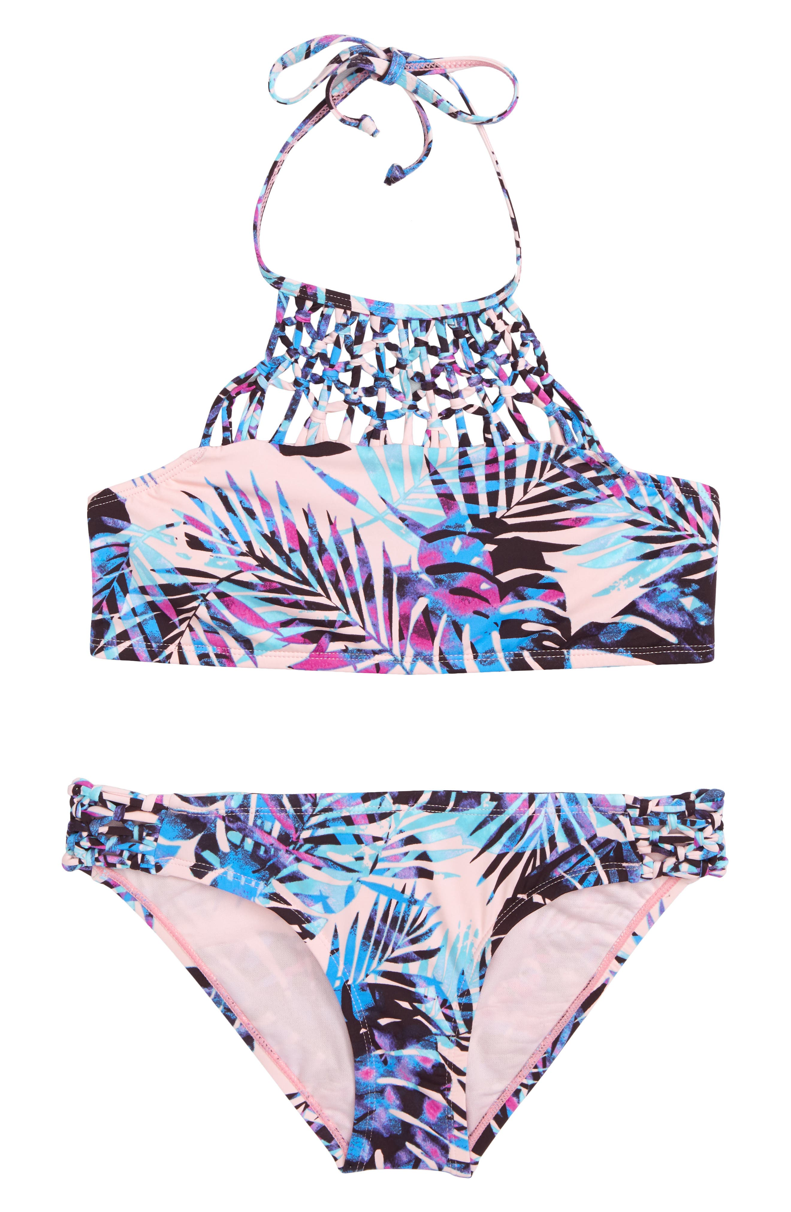 Take It Or Leaf It Two-Piece Swimsuit,                             Main thumbnail 1, color,                             Pop Pink