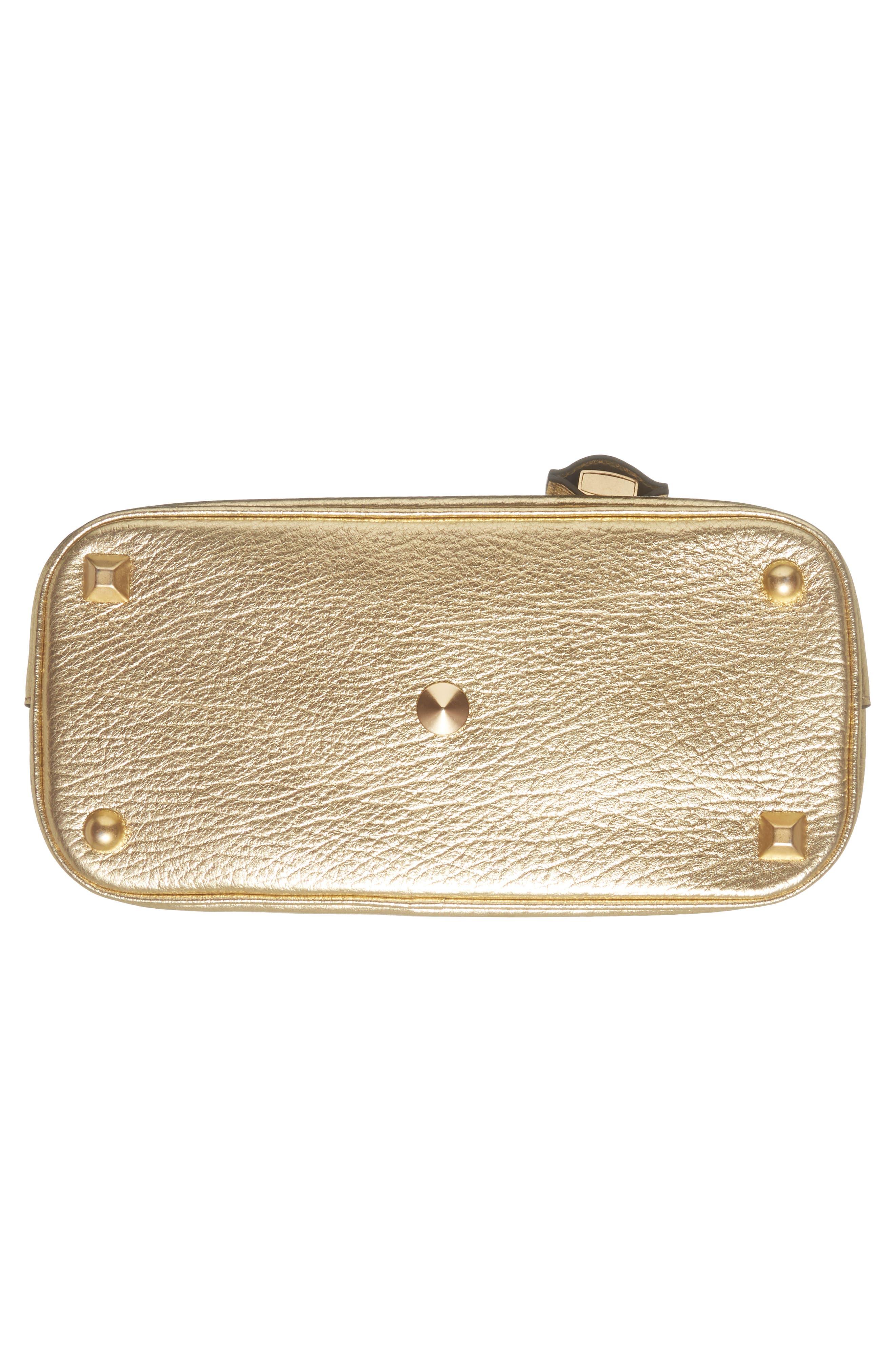 Small 5AC Calfskin Leather Handbag,                             Alternate thumbnail 6, color,                             Gold
