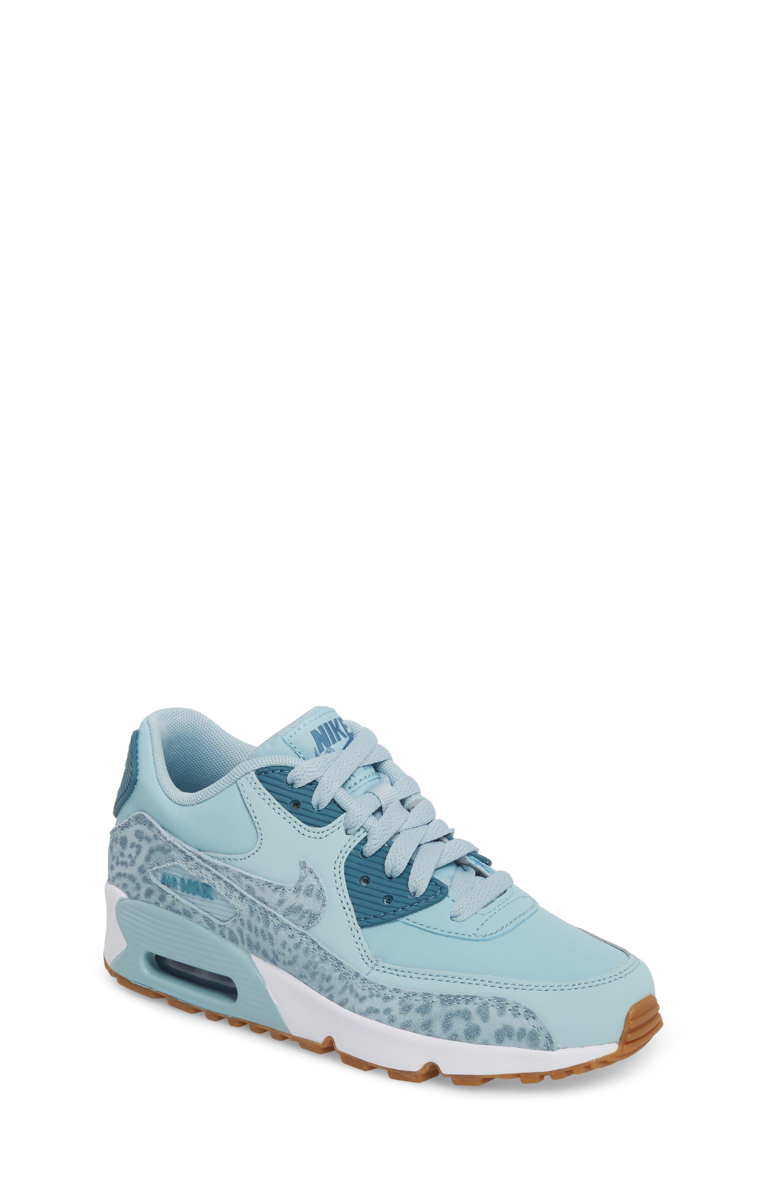 Air Max 90 Leather Sneaker,                         Main,                         color, Ocean Bliss/ Noise Aqua/ White
