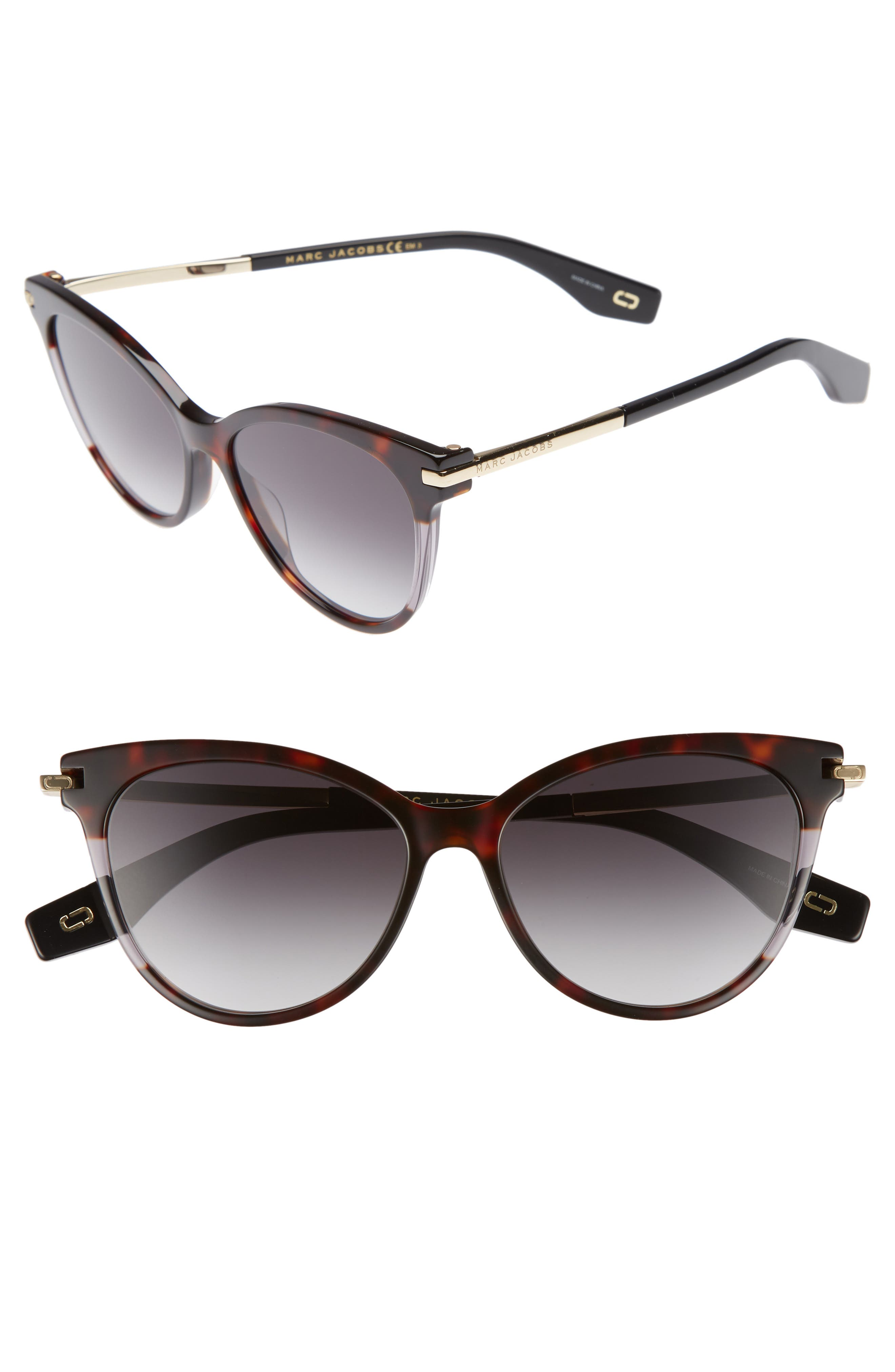 55mm Cat Eye Sunglasses,                             Main thumbnail 1, color,                             Dark Havana