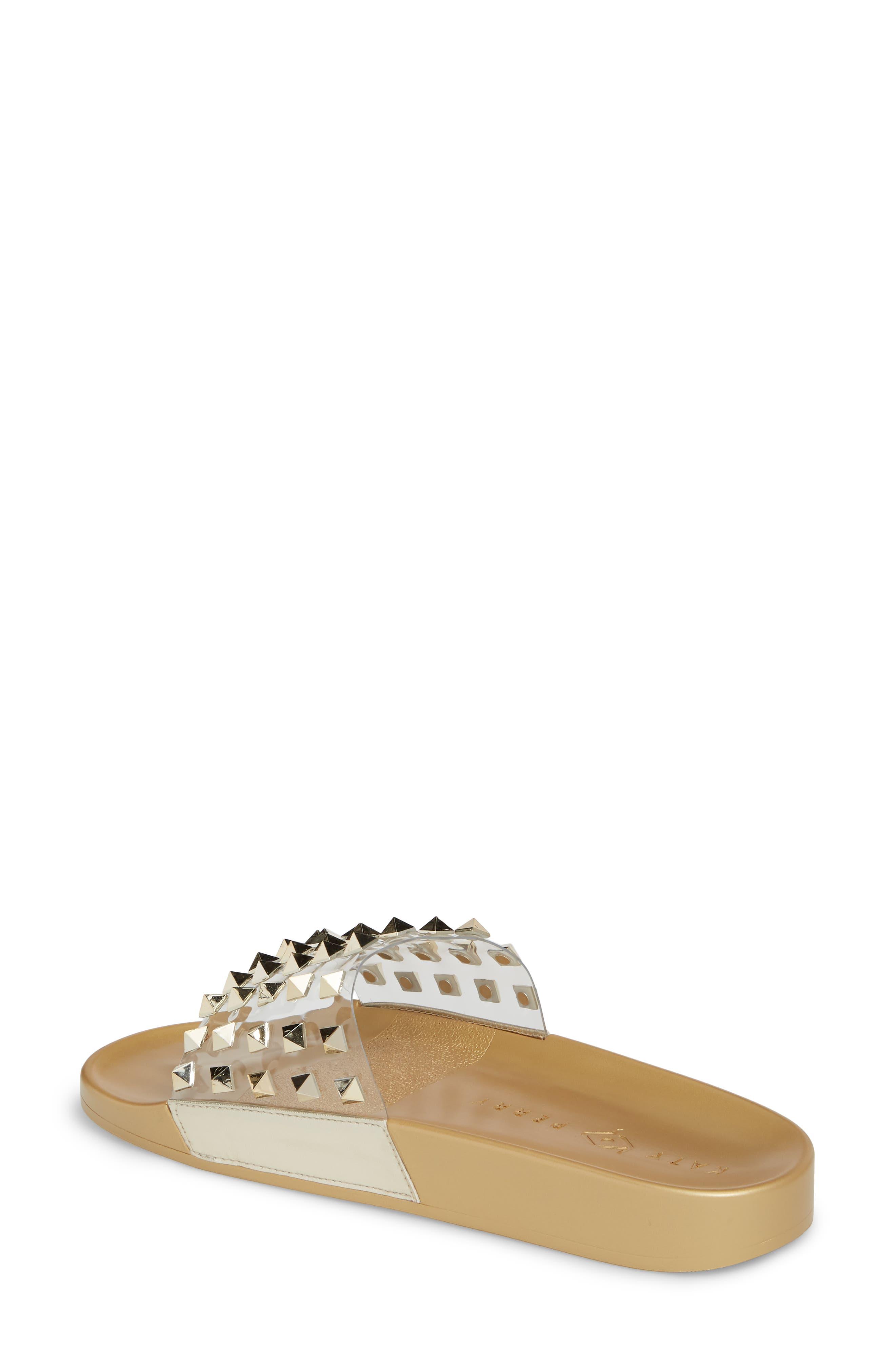 Studded Slide Sandal,                             Alternate thumbnail 2, color,                             Gold