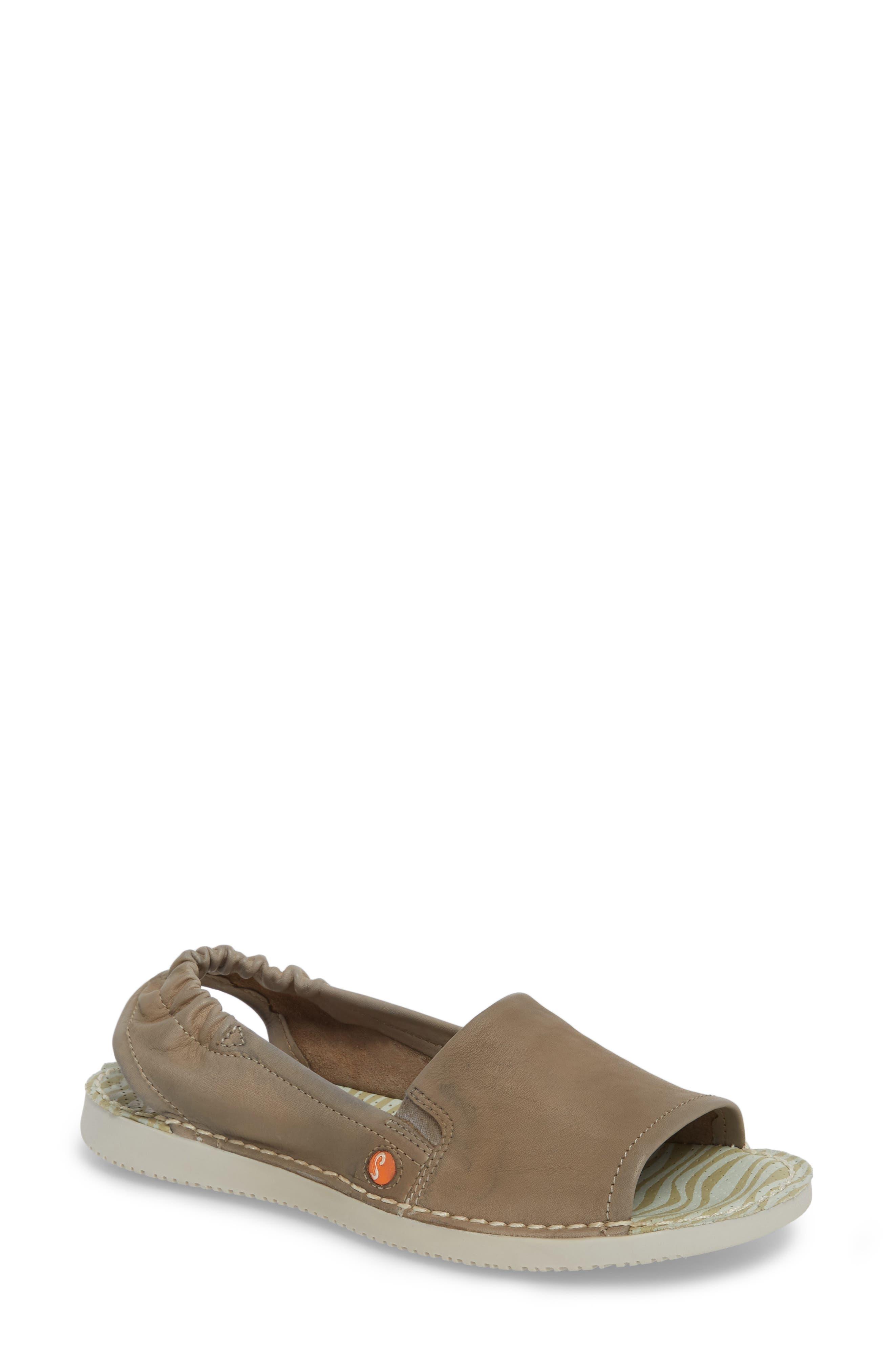 Tee Flat Sandal,                             Main thumbnail 1, color,                             Taupe Leather