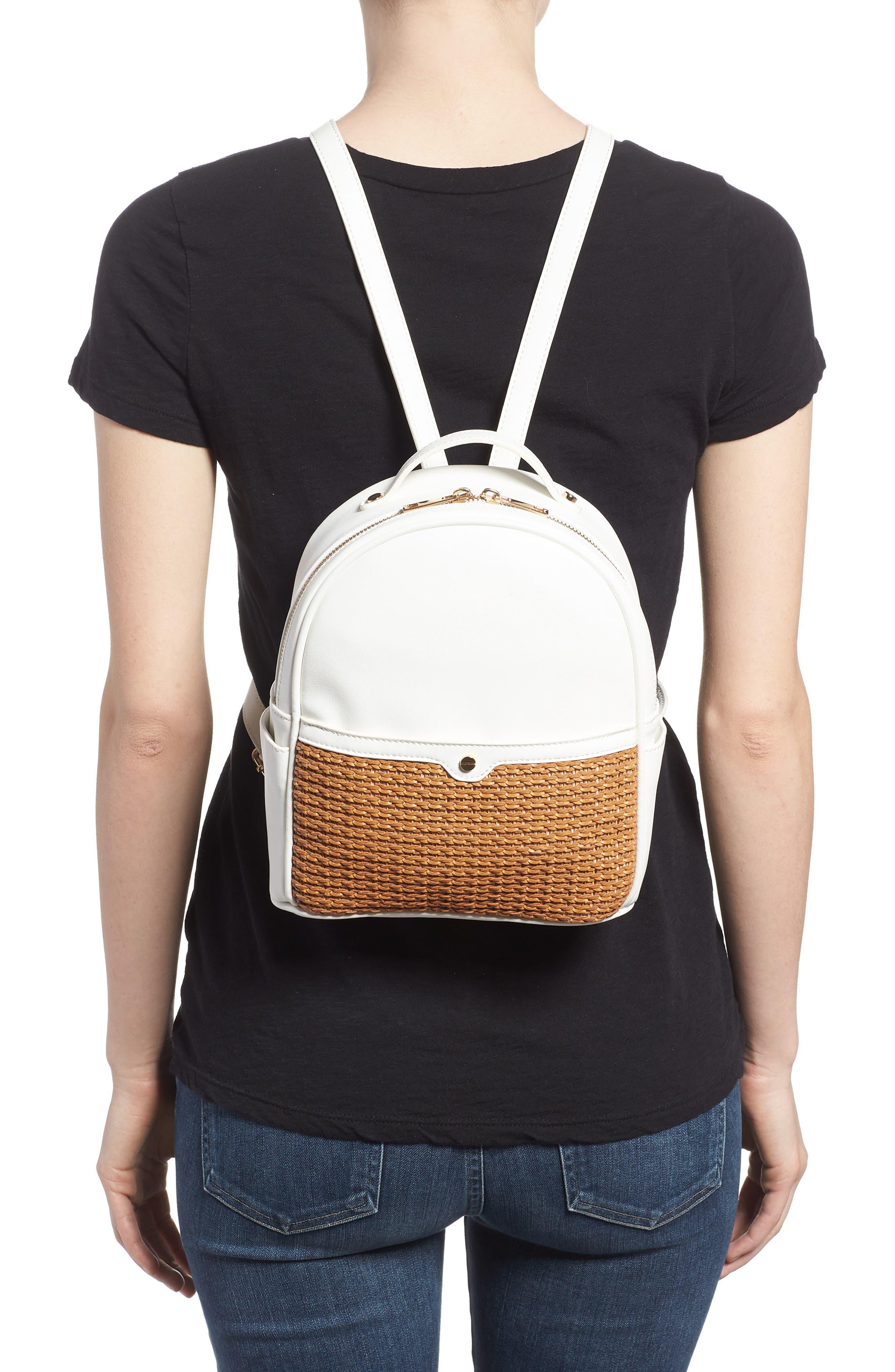 Mali + Lili Harper Lili Basket Weave Backpack,                             Alternate thumbnail 2, color,                             White