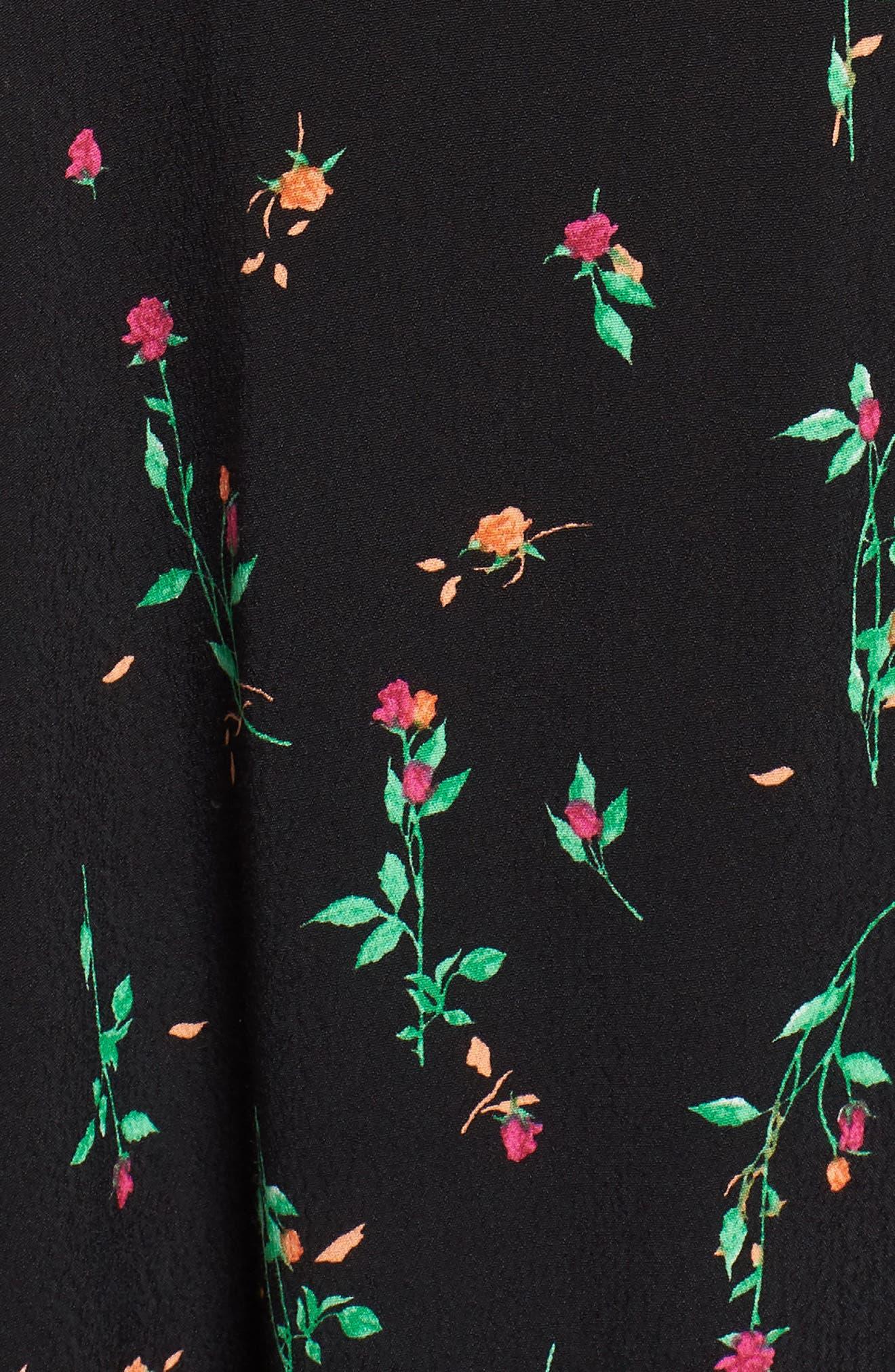 Ramon Tie Front Maxi Dress,                             Alternate thumbnail 5, color,                             Noir Rose Ditsy