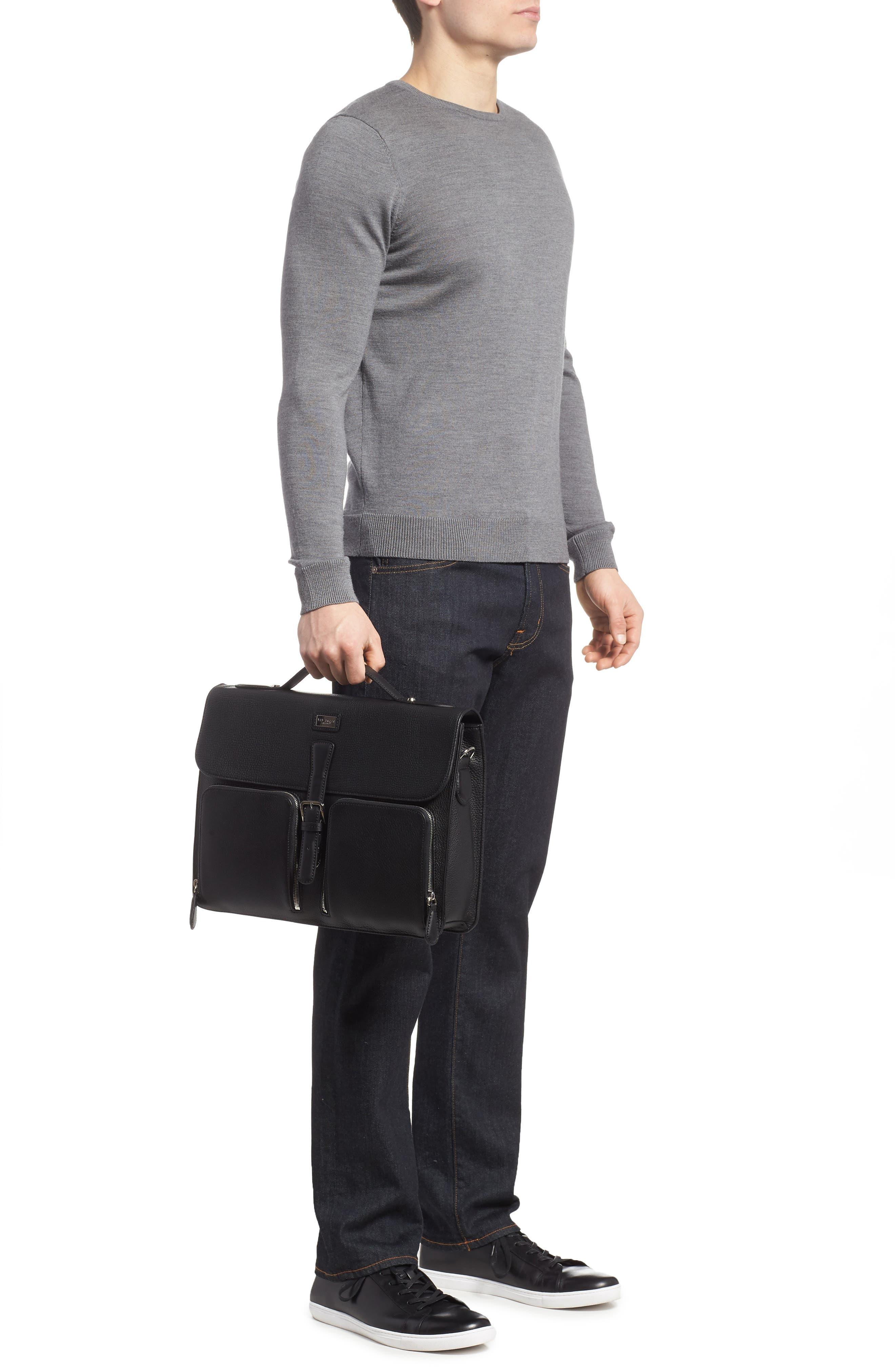 Munch Leather Satchel Briefcase,                             Alternate thumbnail 2, color,                             Black