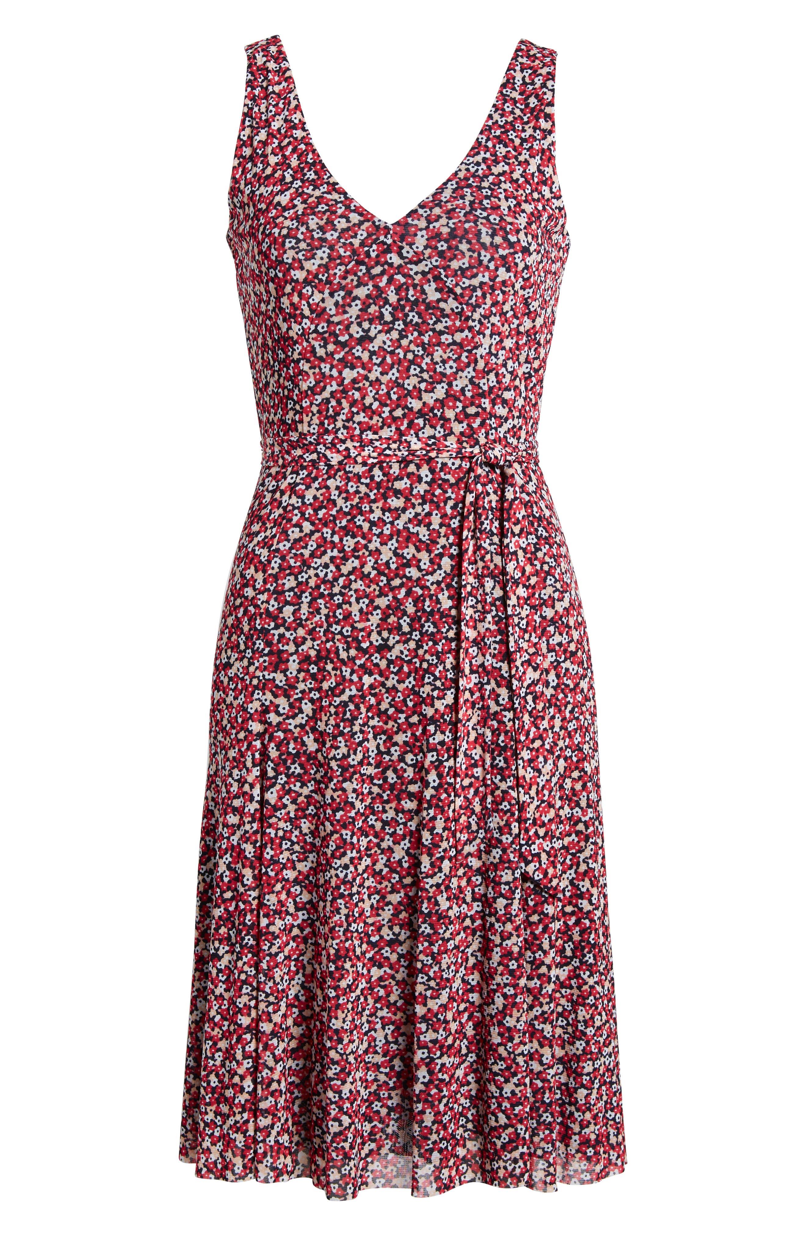Floral Tank Dress,                             Alternate thumbnail 6, color,                             True Navy/ Bright Blush