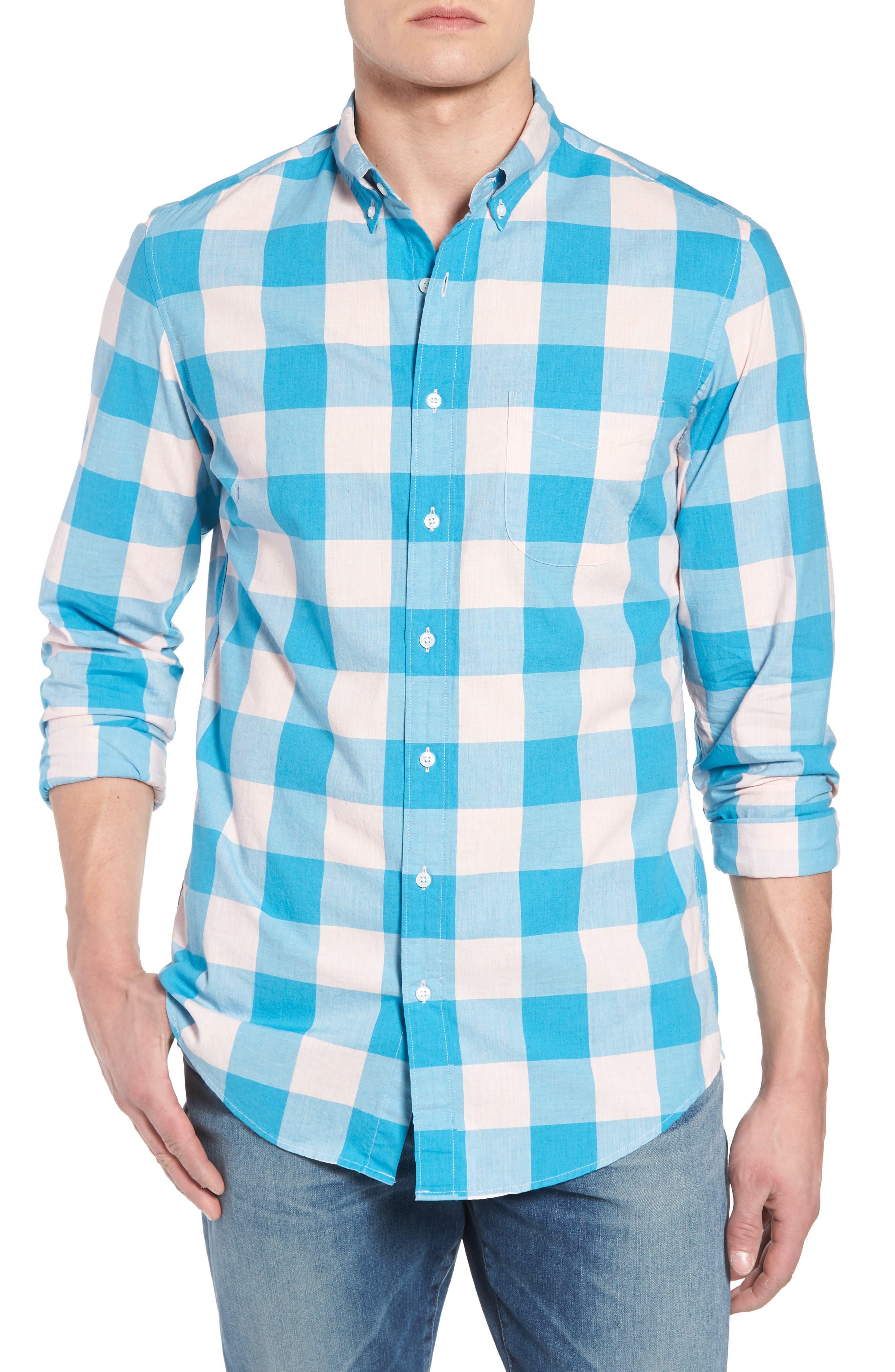 Classic Fit Stretch Secret Wash Check Sport Shirt,                         Main,                         color, Blush Sea
