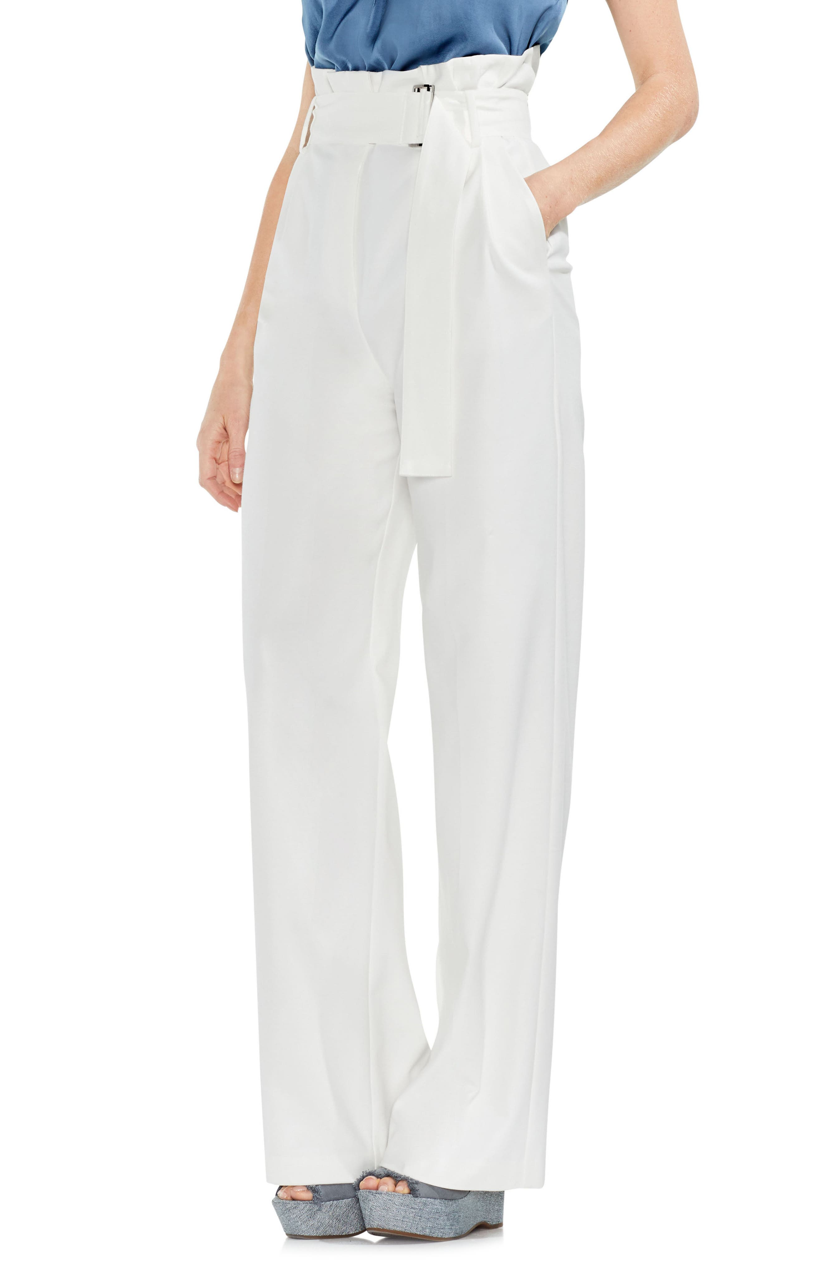 Wide Leg Belted Pants,                             Main thumbnail 1, color,                             New Ivory
