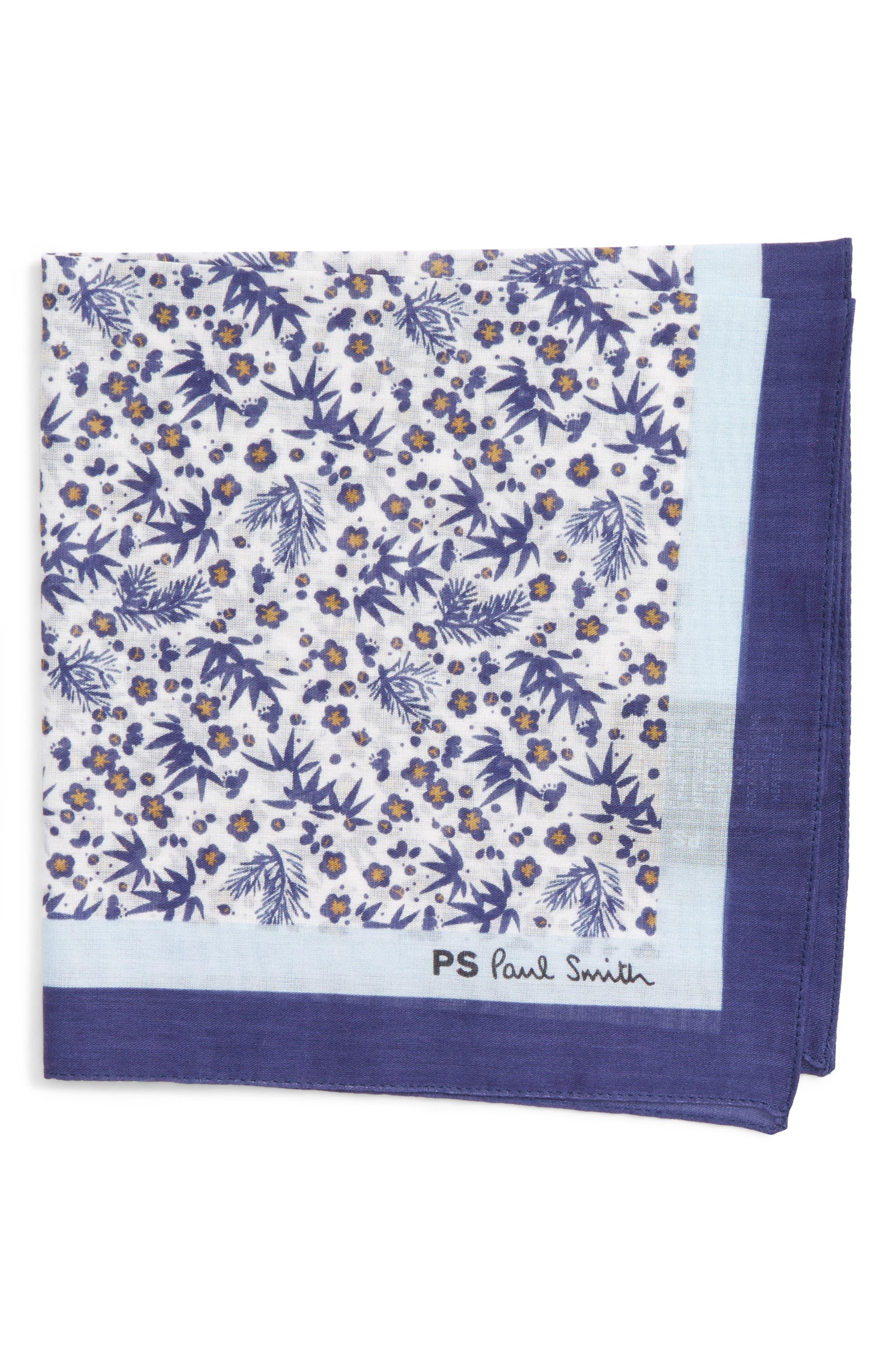 Floral Print Silk Pocket Square,                         Main,                         color, White