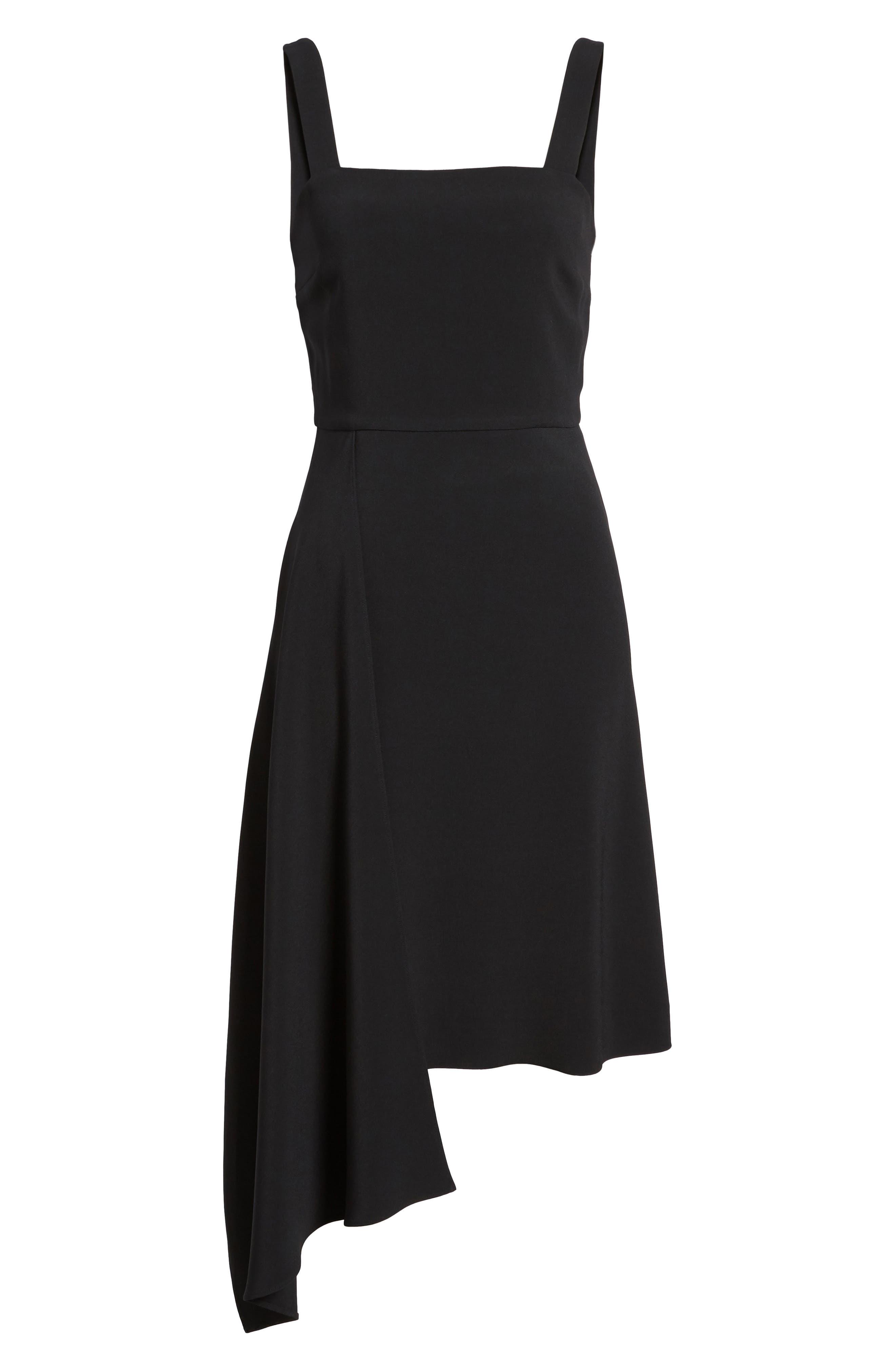 Side Drape Jumper Dress,                             Alternate thumbnail 6, color,                             Black