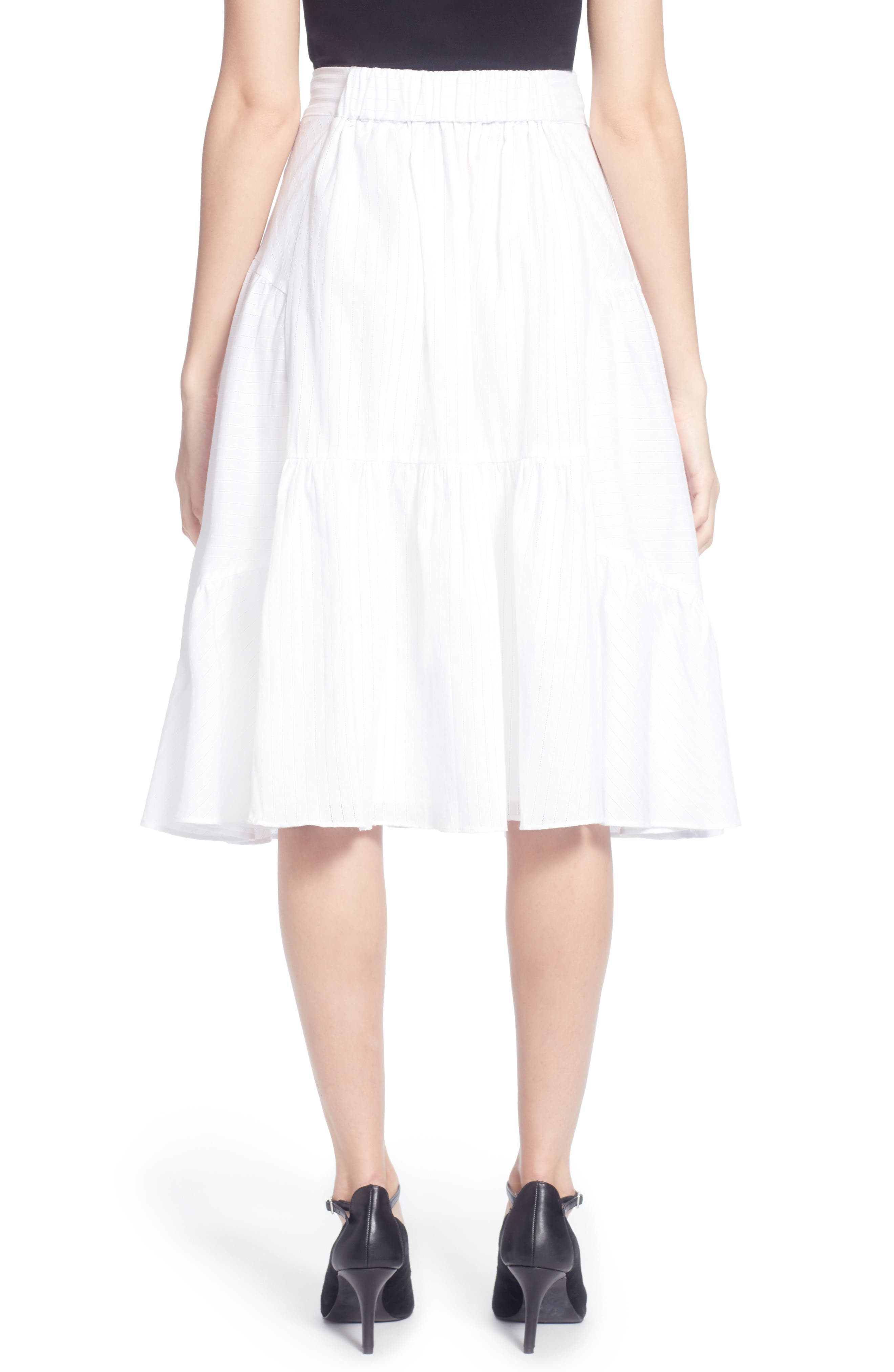 Dom Cotton Ruffle Skirt,                             Alternate thumbnail 2, color,                             White Stripe
