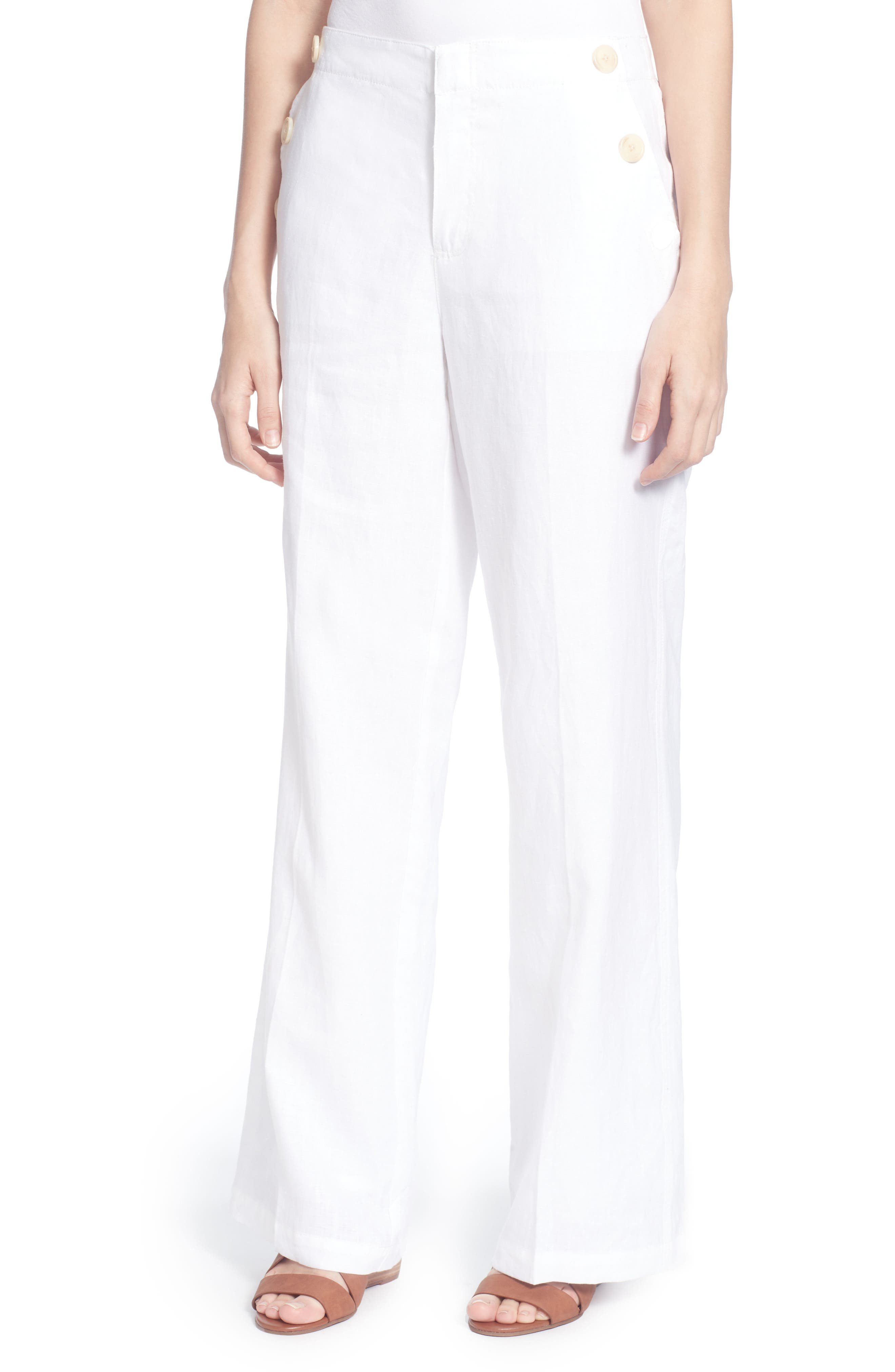 Fritz Linen Sailor Pants,                         Main,                         color, Bright White