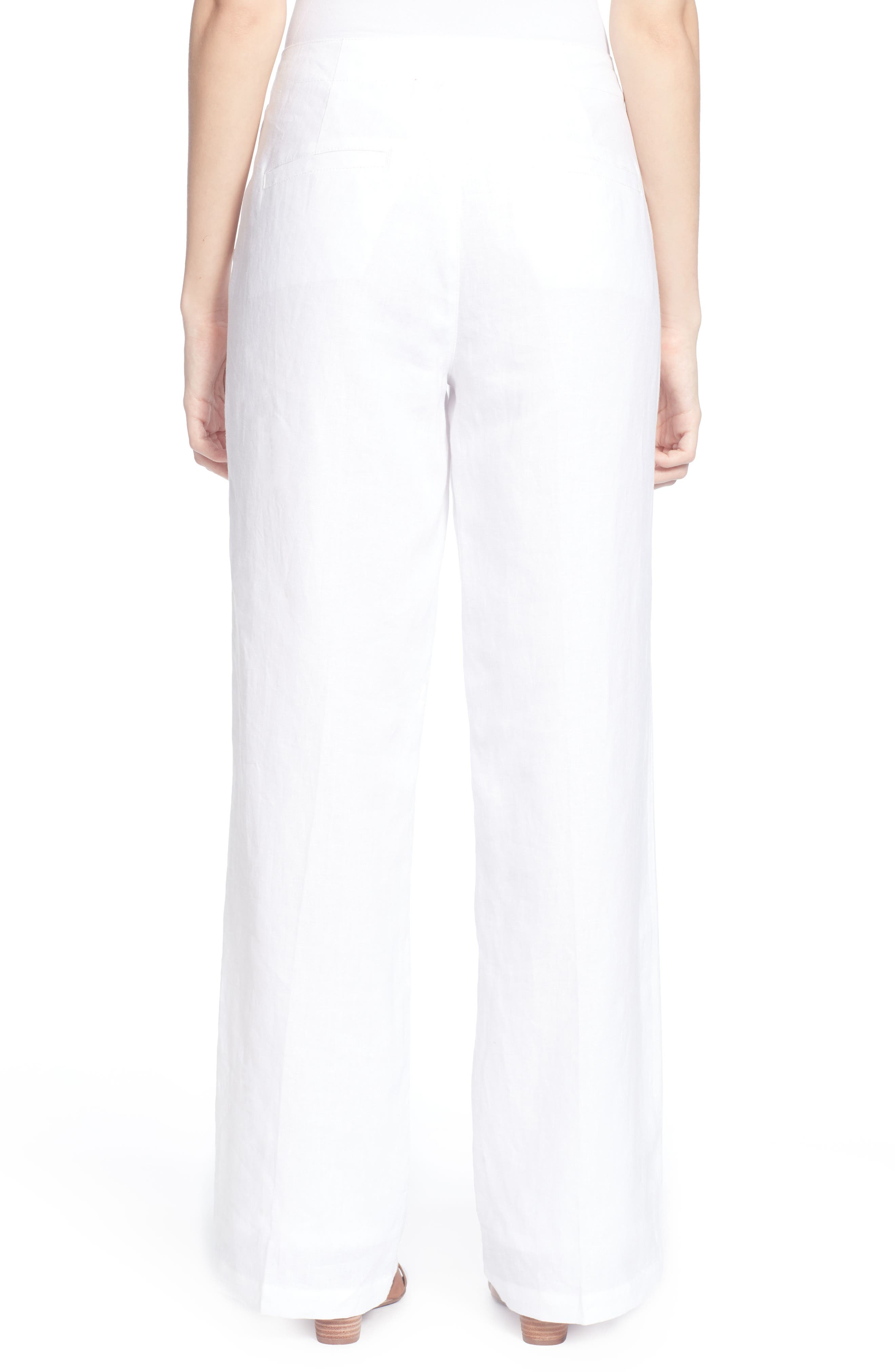 Fritz Linen Sailor Pants,                             Alternate thumbnail 2, color,                             Bright White