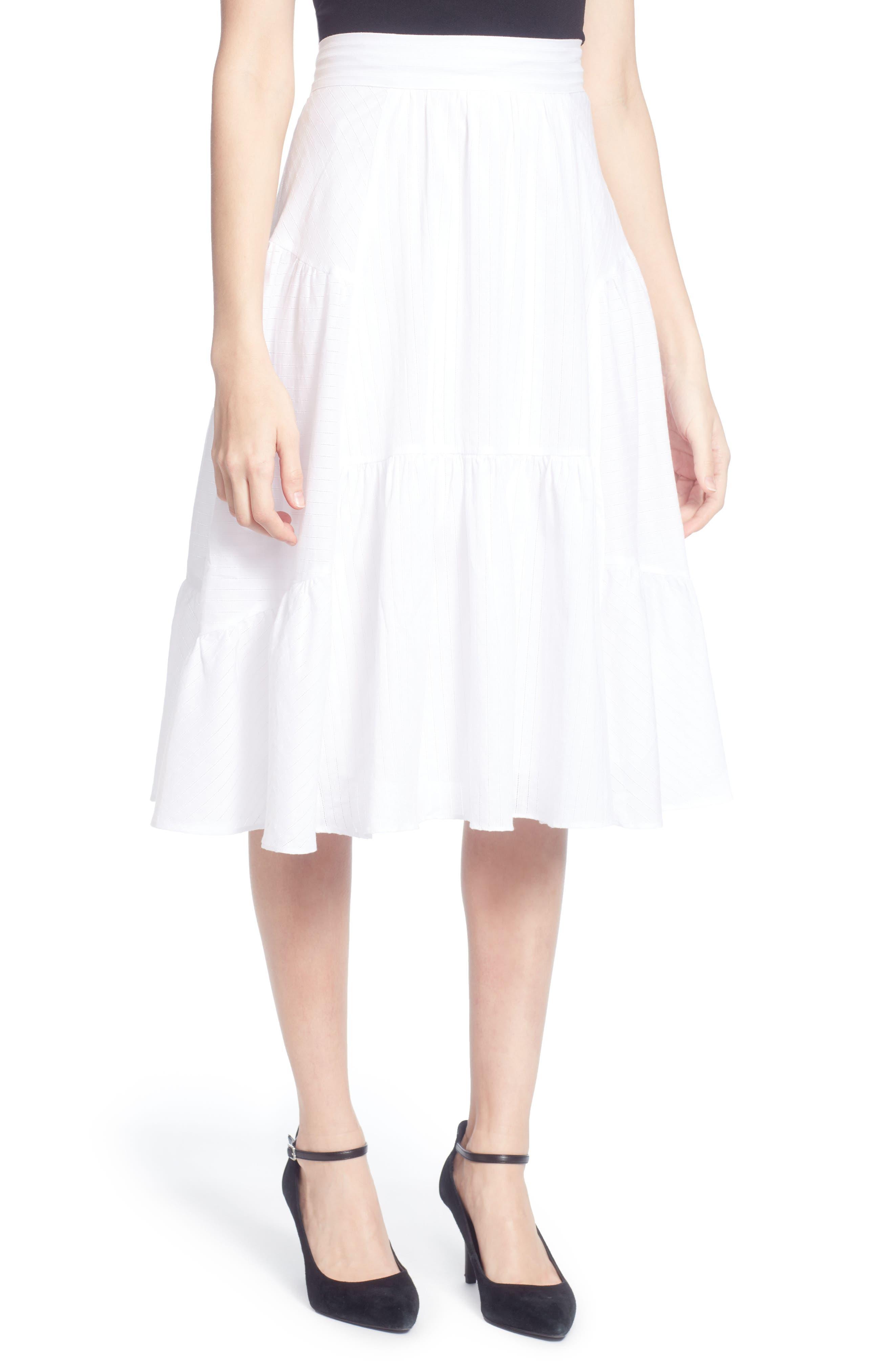 Dom Cotton Ruffle Skirt,                             Main thumbnail 1, color,                             White Stripe
