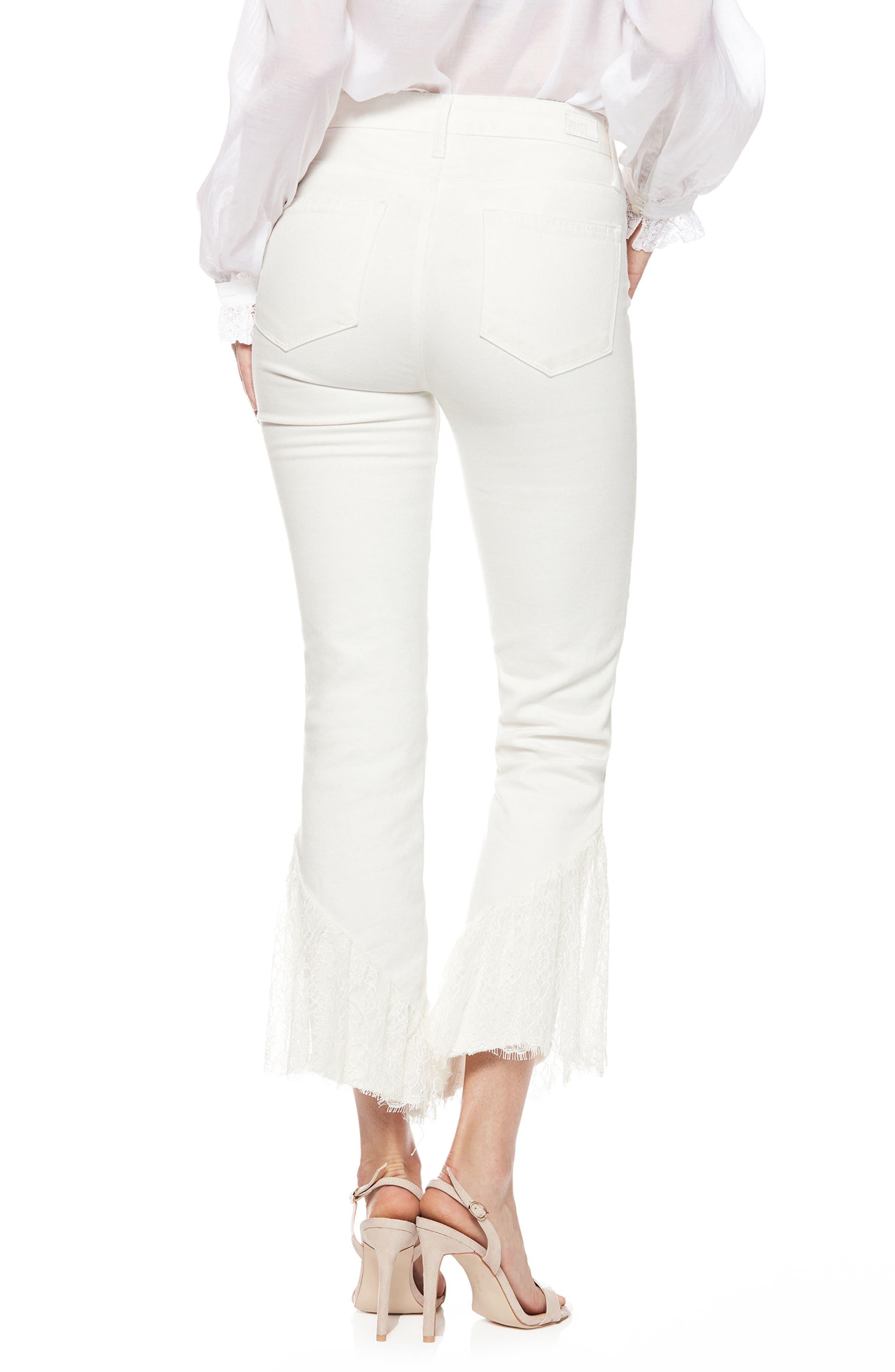 Hoxton Lace Hem High Waist Ankle Straight Leg Jeans,                             Alternate thumbnail 2, color,                             Poodle White