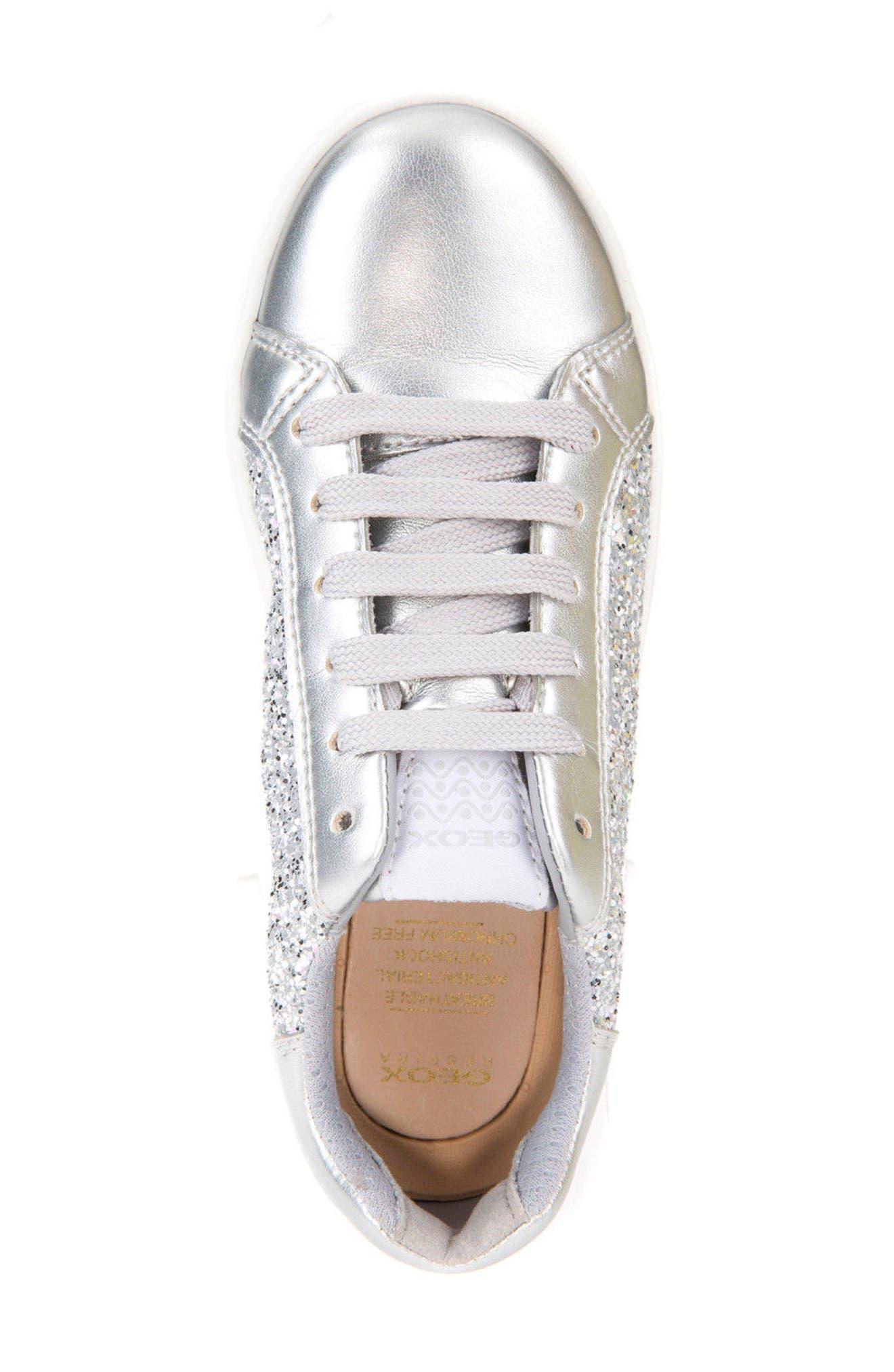 DJ Rock Glitter Low Top Sneaker,                             Alternate thumbnail 4, color,                             Silver