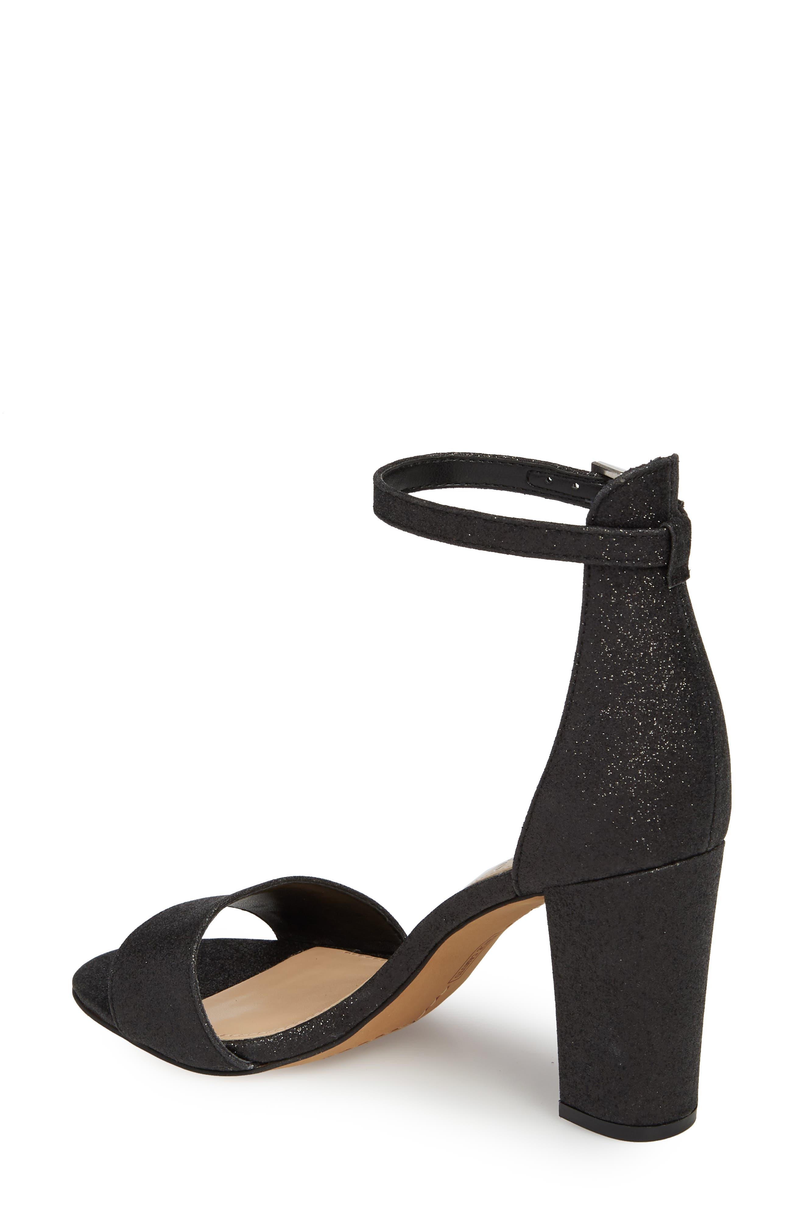 Corlina Ankle Strap Sandal,                             Alternate thumbnail 2, color,                             Black Glitter Fabric