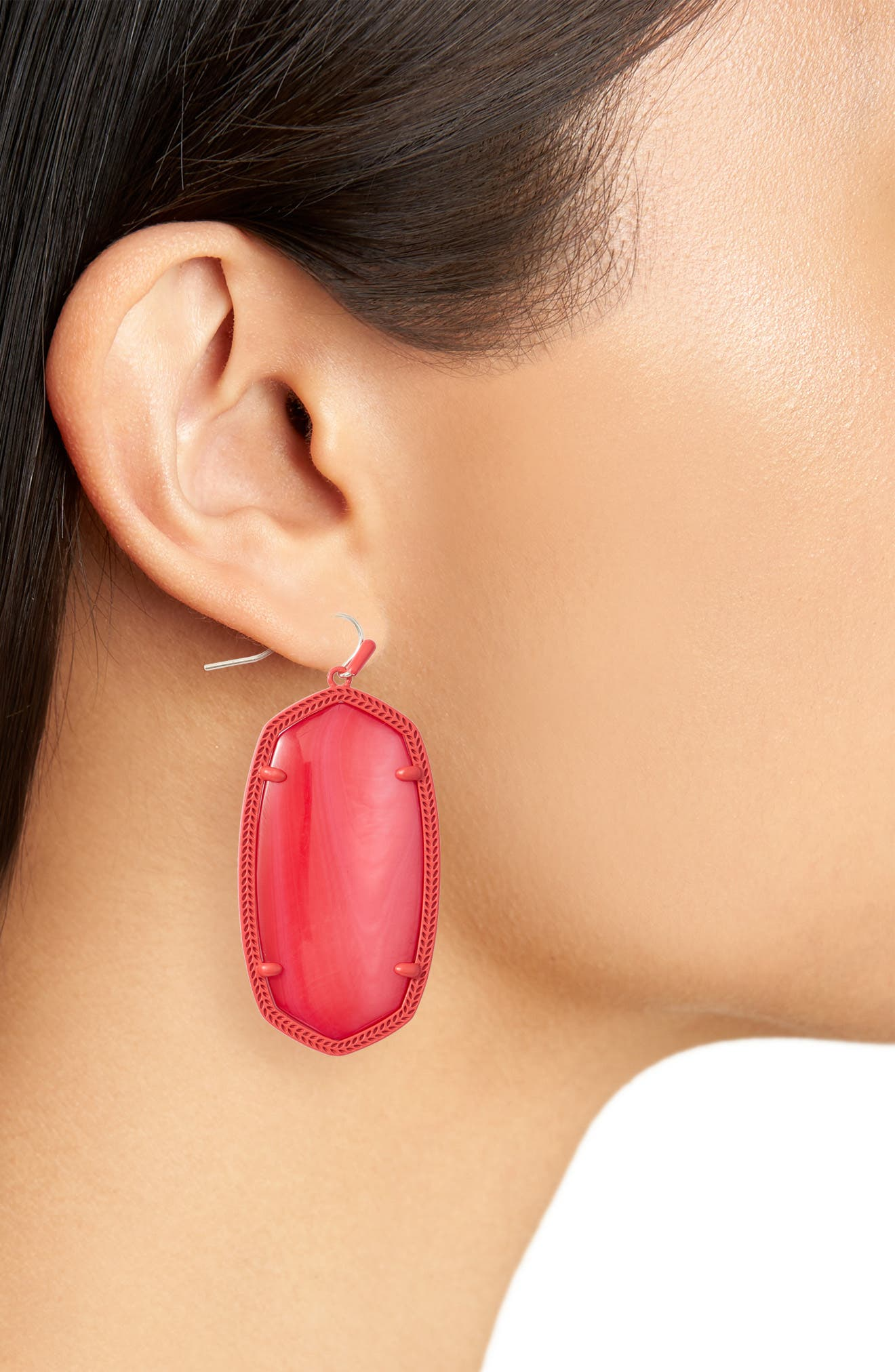 Danielle - Large Oval Statement Earrings,                             Alternate thumbnail 2, color,                             Red Mop/ Matte Red