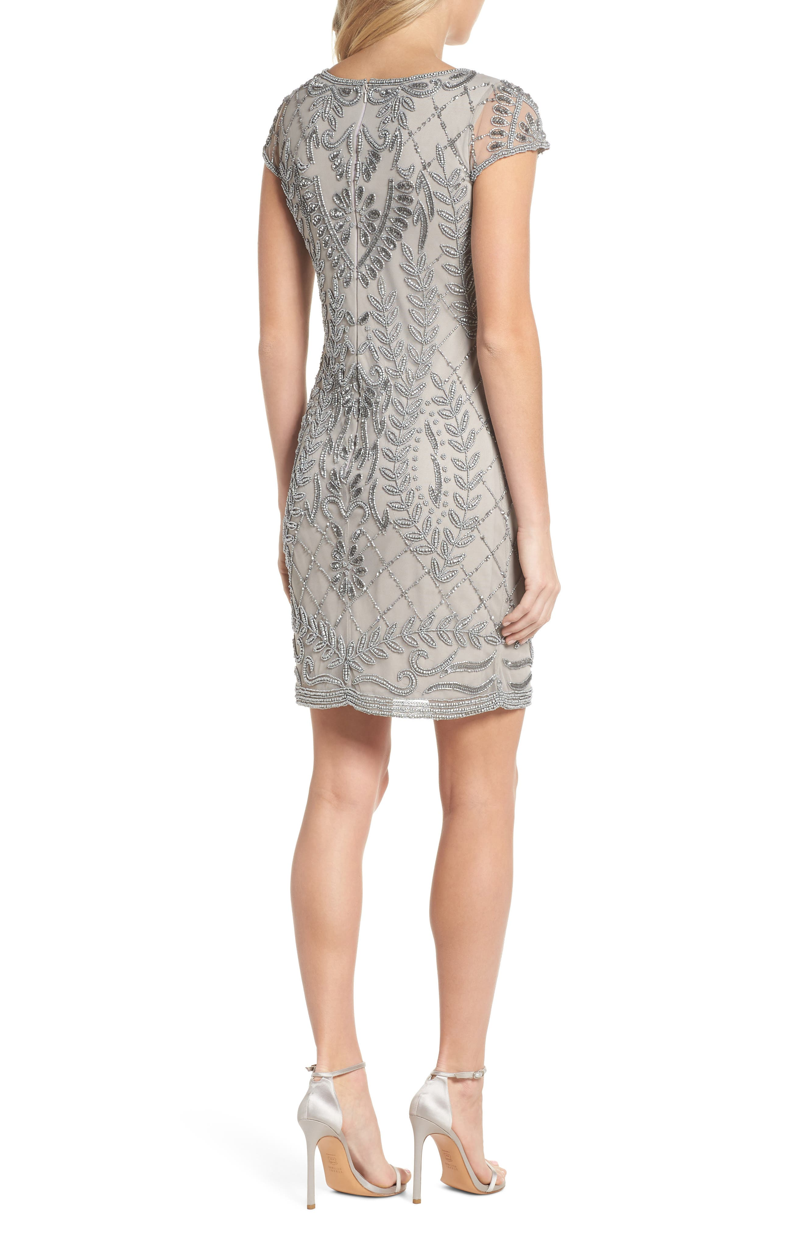 Beaded Sheath Dress,                             Alternate thumbnail 2, color,                             Silver