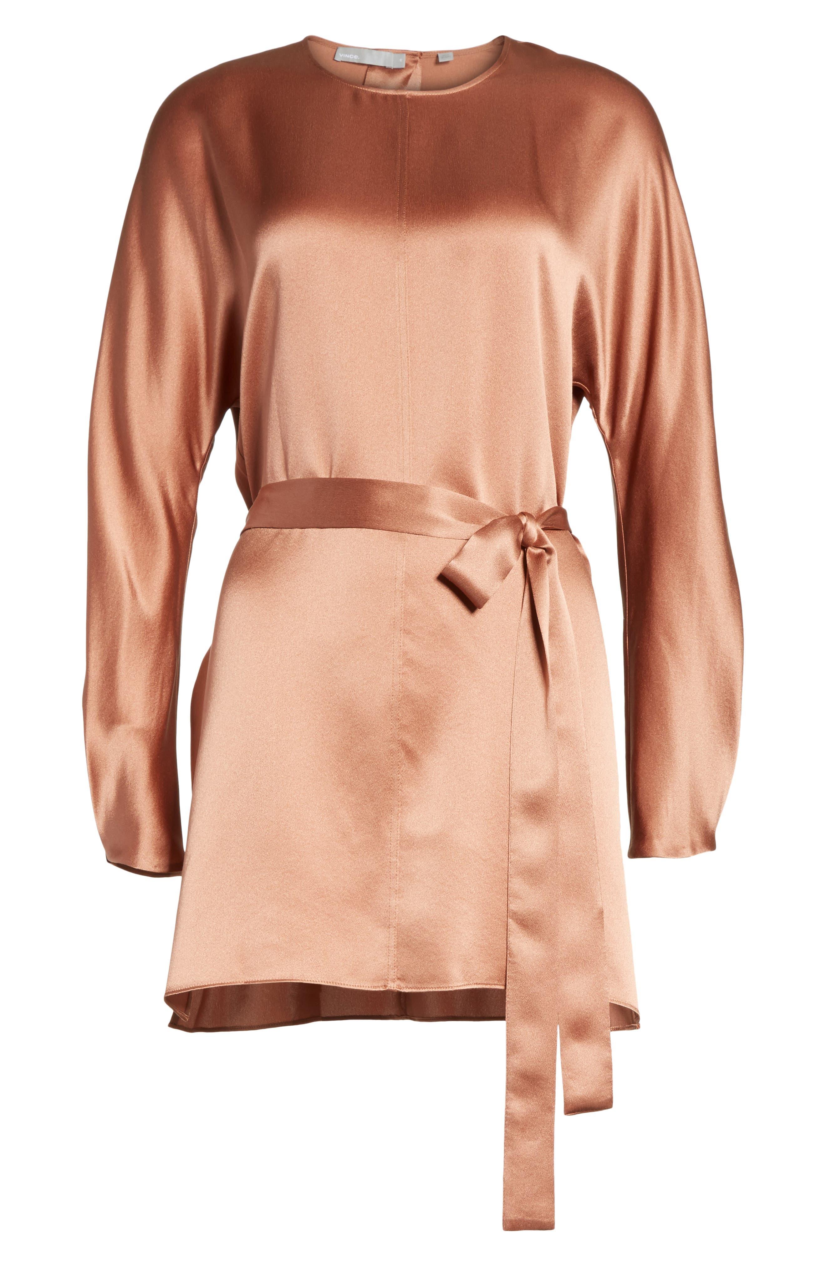 Seam Front Silk Dress,                             Alternate thumbnail 6, color,                             Terracotta