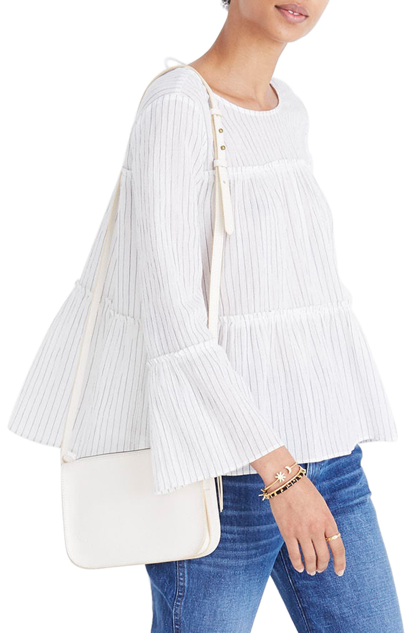 Stripe Tiered Top,                             Main thumbnail 1, color,                             White Wash