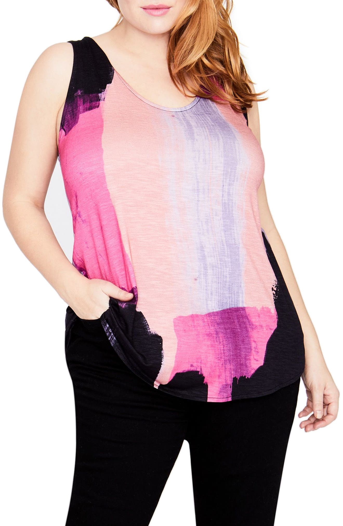 Tie Back Tank,                         Main,                         color, Cosmic Pink
