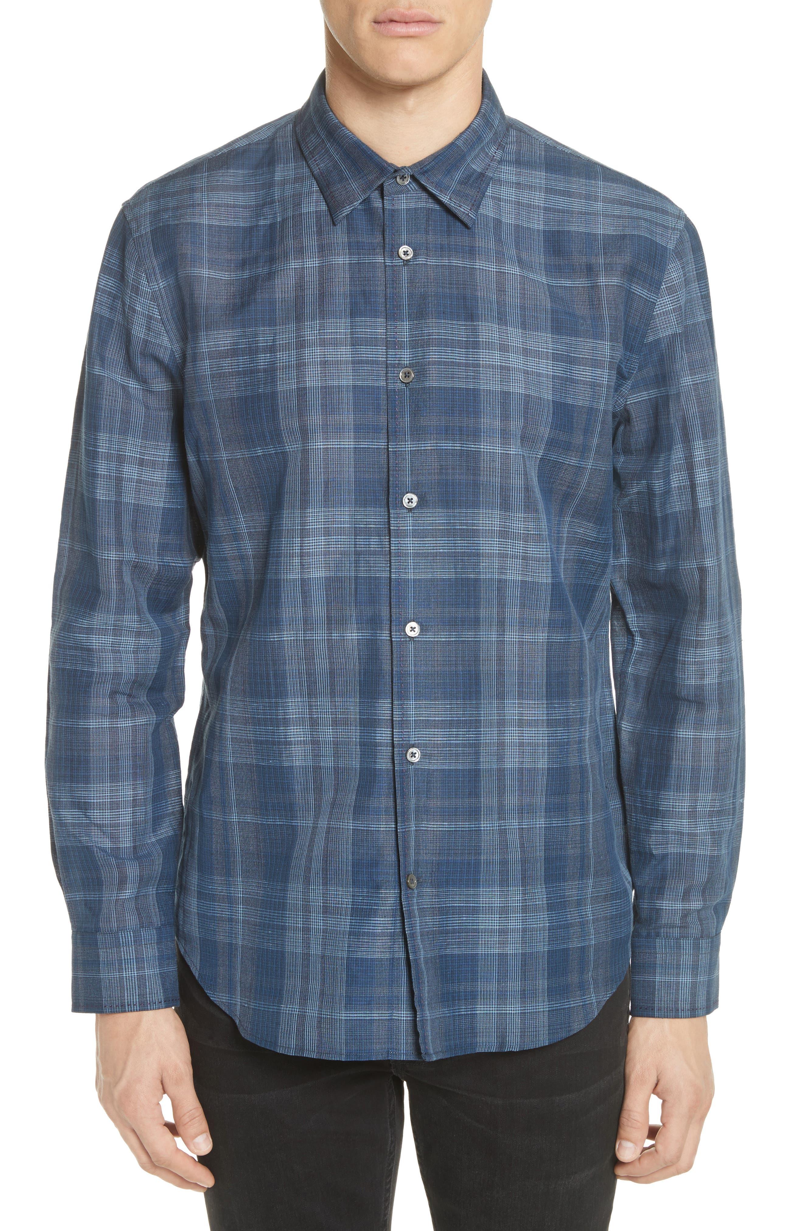 John Varvatos Classic Fit Plaid Linen Blend Shirt