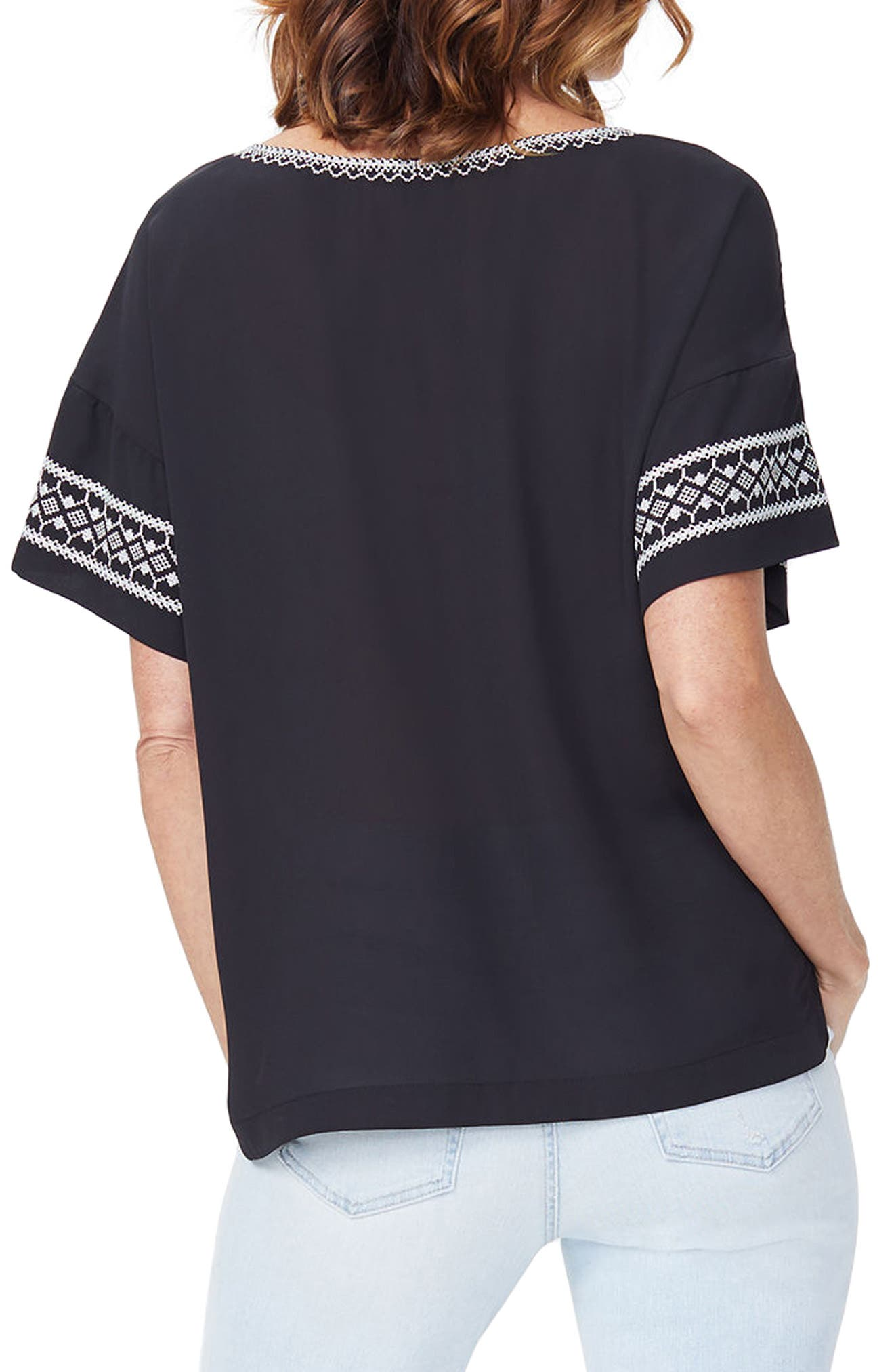 Embroidered Tee,                             Alternate thumbnail 2, color,                             Black