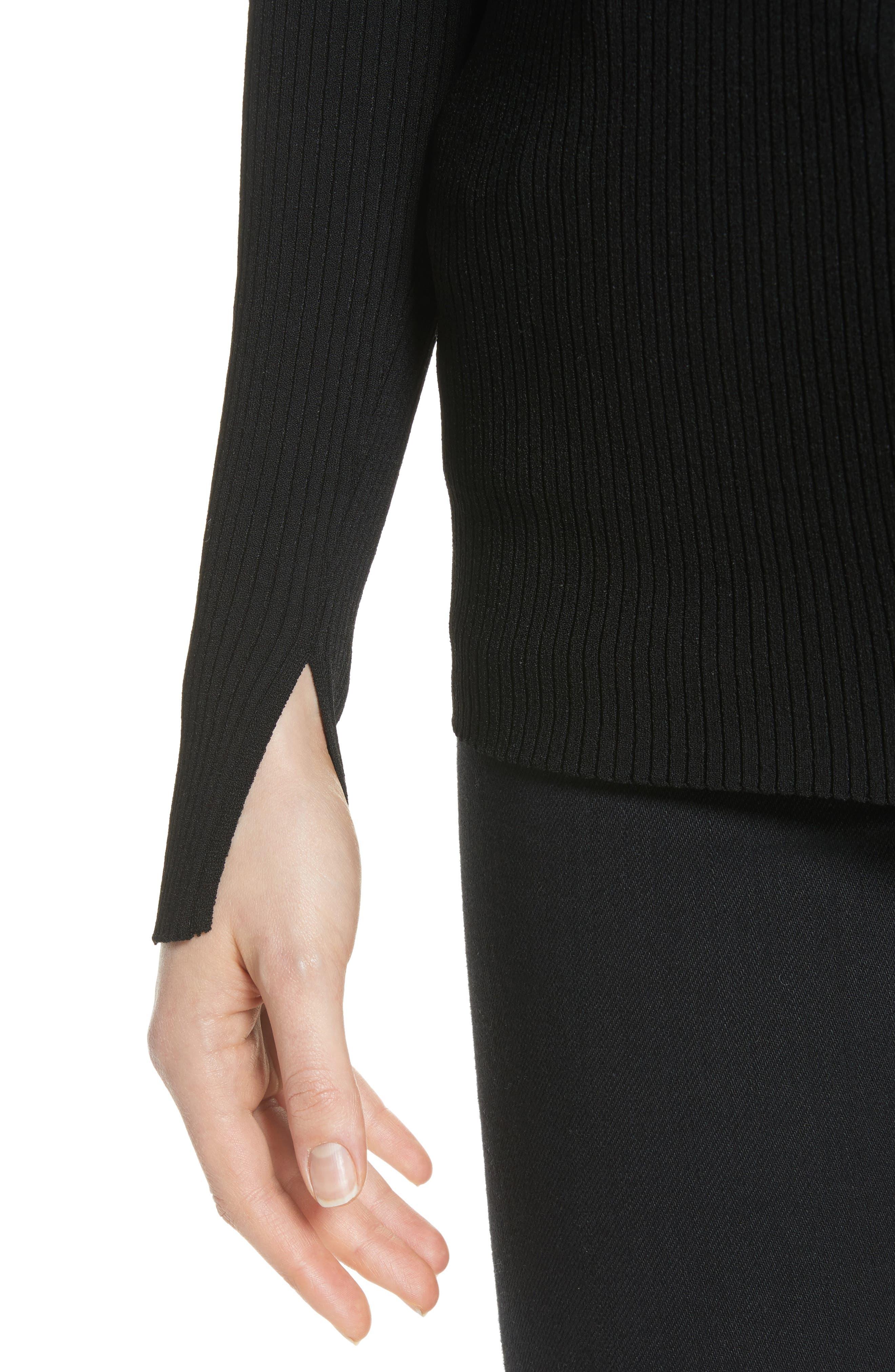 Athena Faux Wrap Sweater,                             Alternate thumbnail 4, color,                             Black Onyx