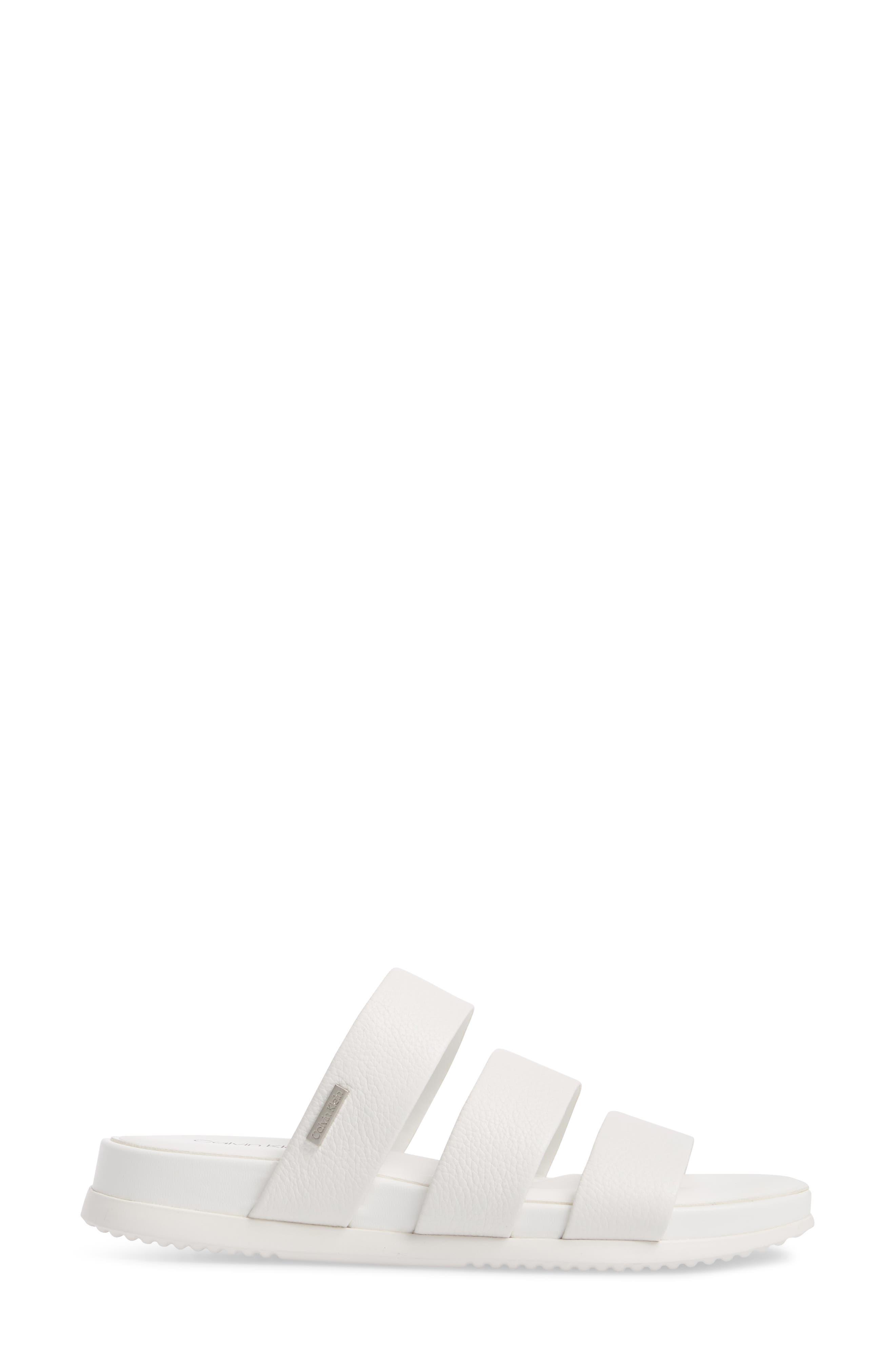Dalana Slide Sandal,                             Alternate thumbnail 3, color,                             Platinum White Pebble Leather