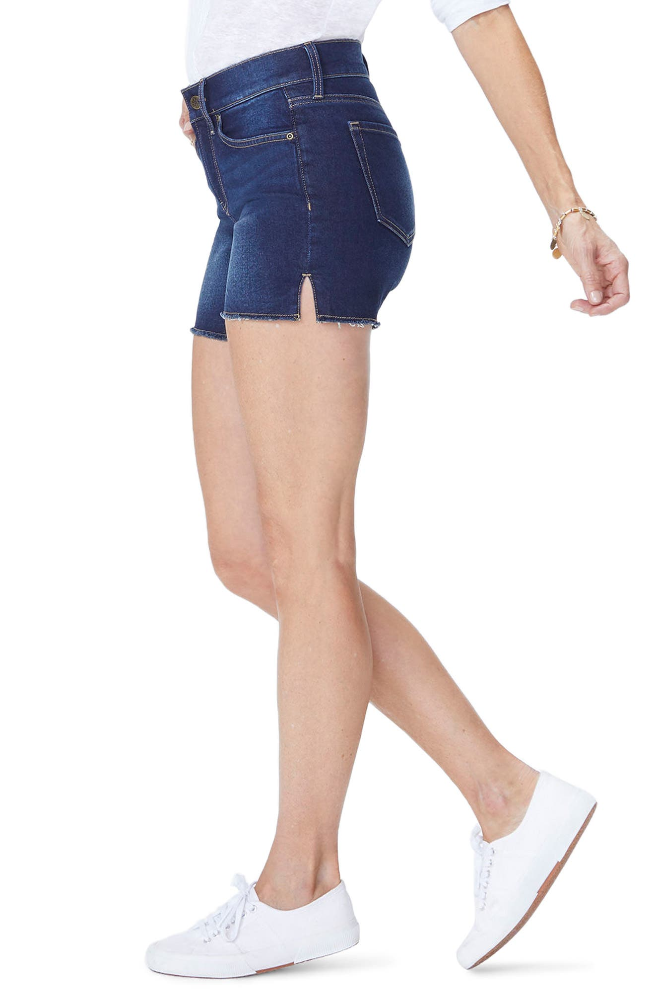 Side Slit Denim Shorts,                             Alternate thumbnail 3, color,                             Seabrook