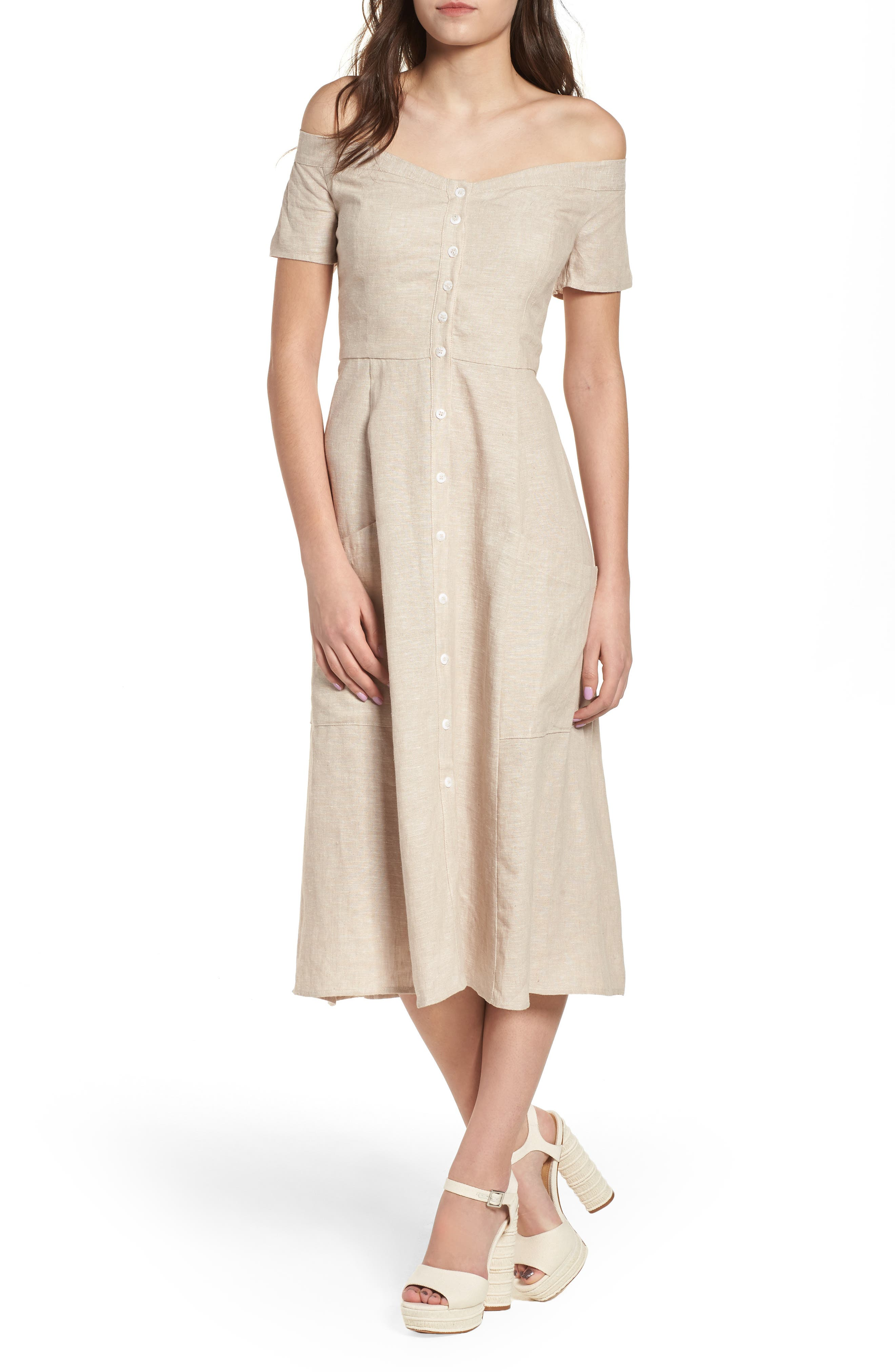 WAYF Perry Linen Blend Midi Dress