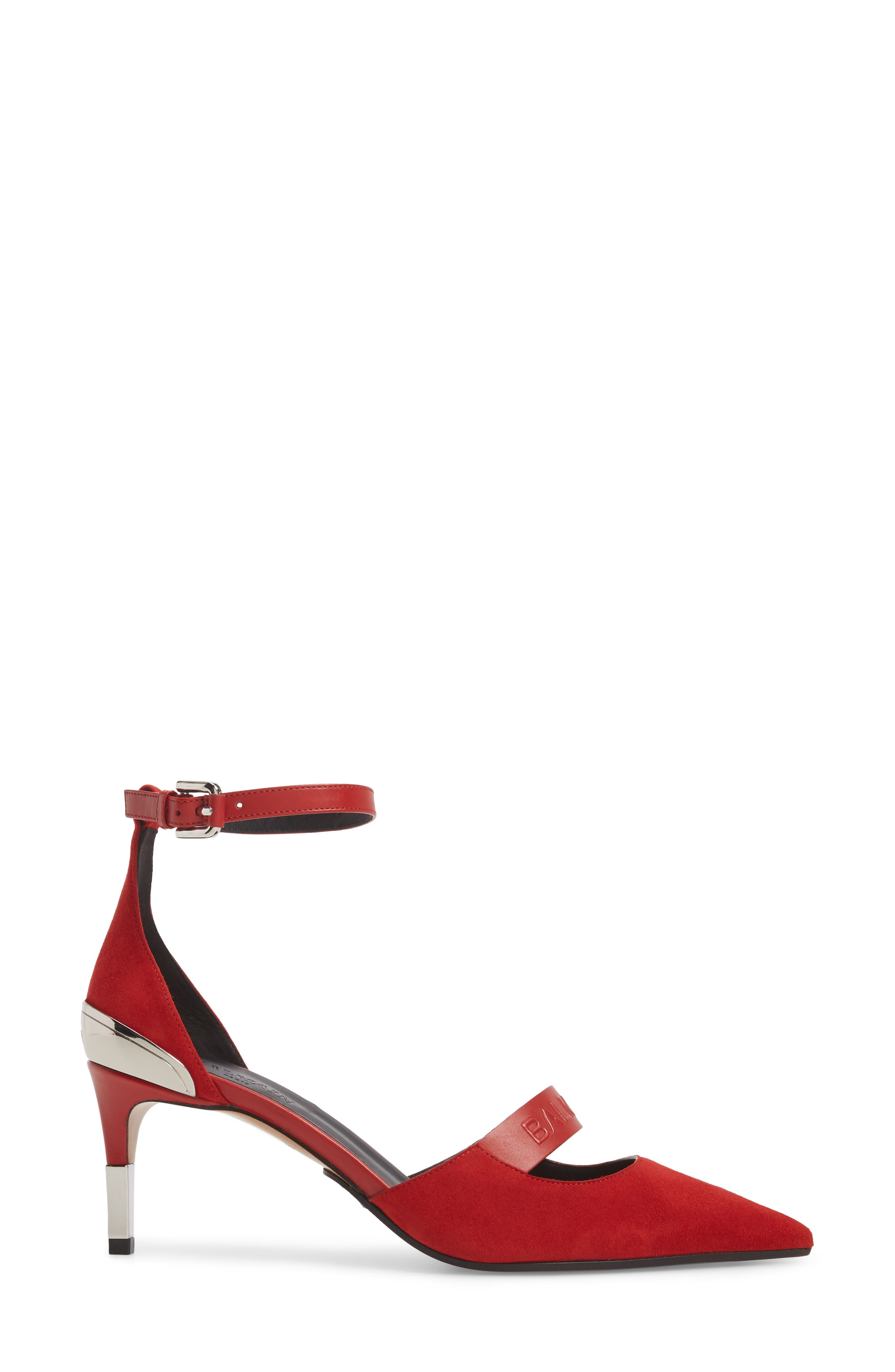 Chance Ankle Strap Pointy Toe Pump,                             Alternate thumbnail 3, color,                             Red