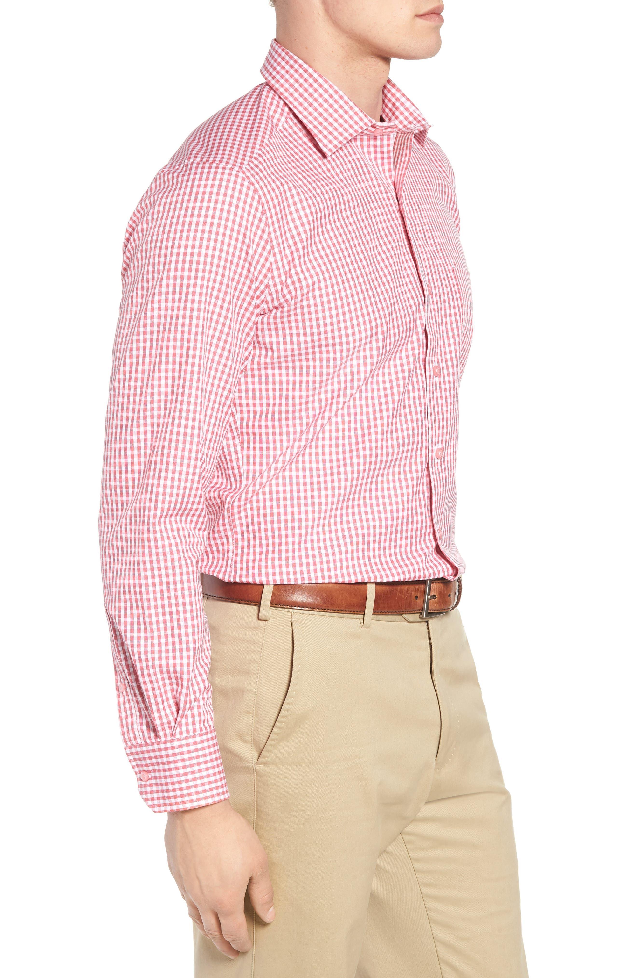 Check Cotton Sport Shirt,                             Alternate thumbnail 3, color,                             Pink