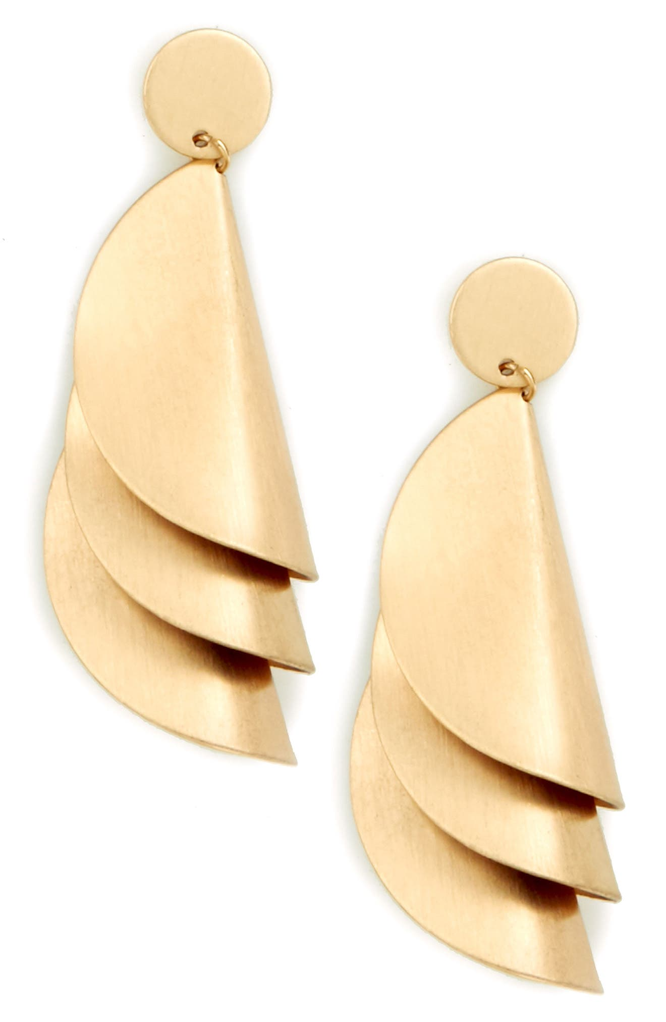 Fossil Cove Statement Earrings,                             Main thumbnail 1, color,                             Gold