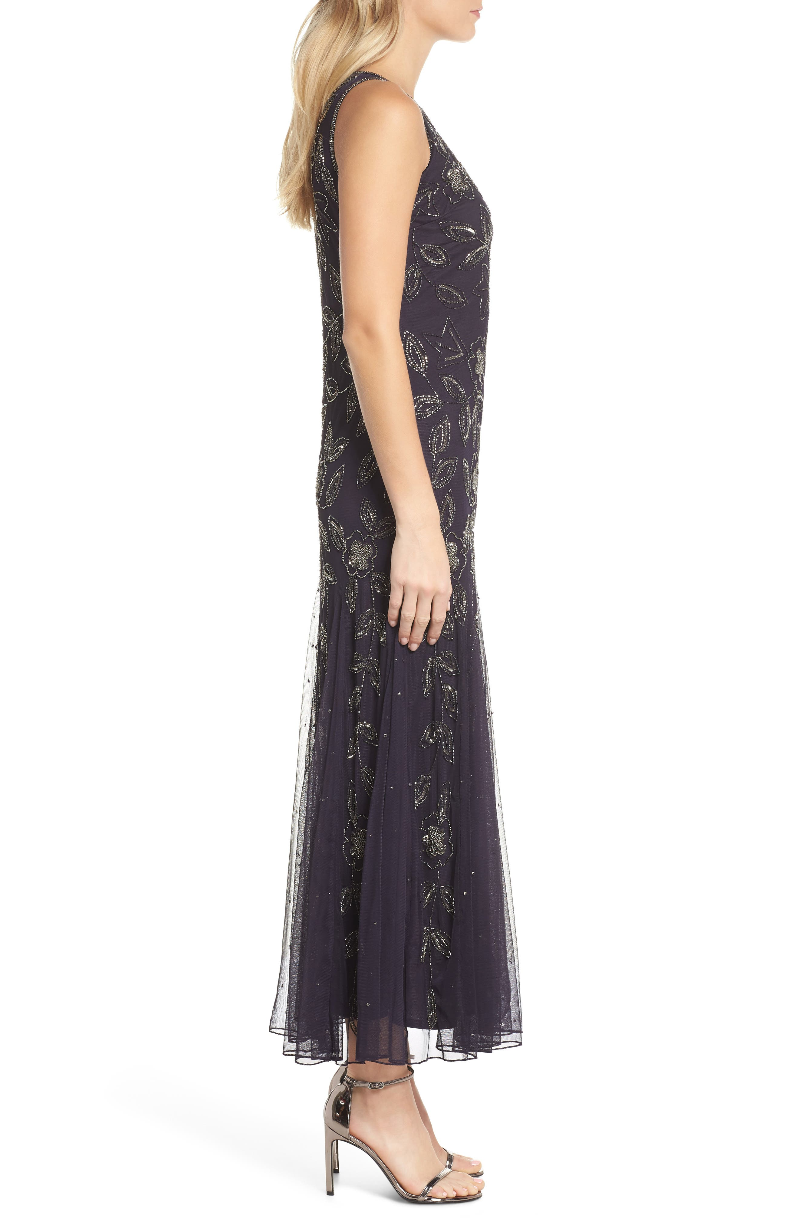 Beaded Godet Gown,                             Alternate thumbnail 3, color,                             Eggplant