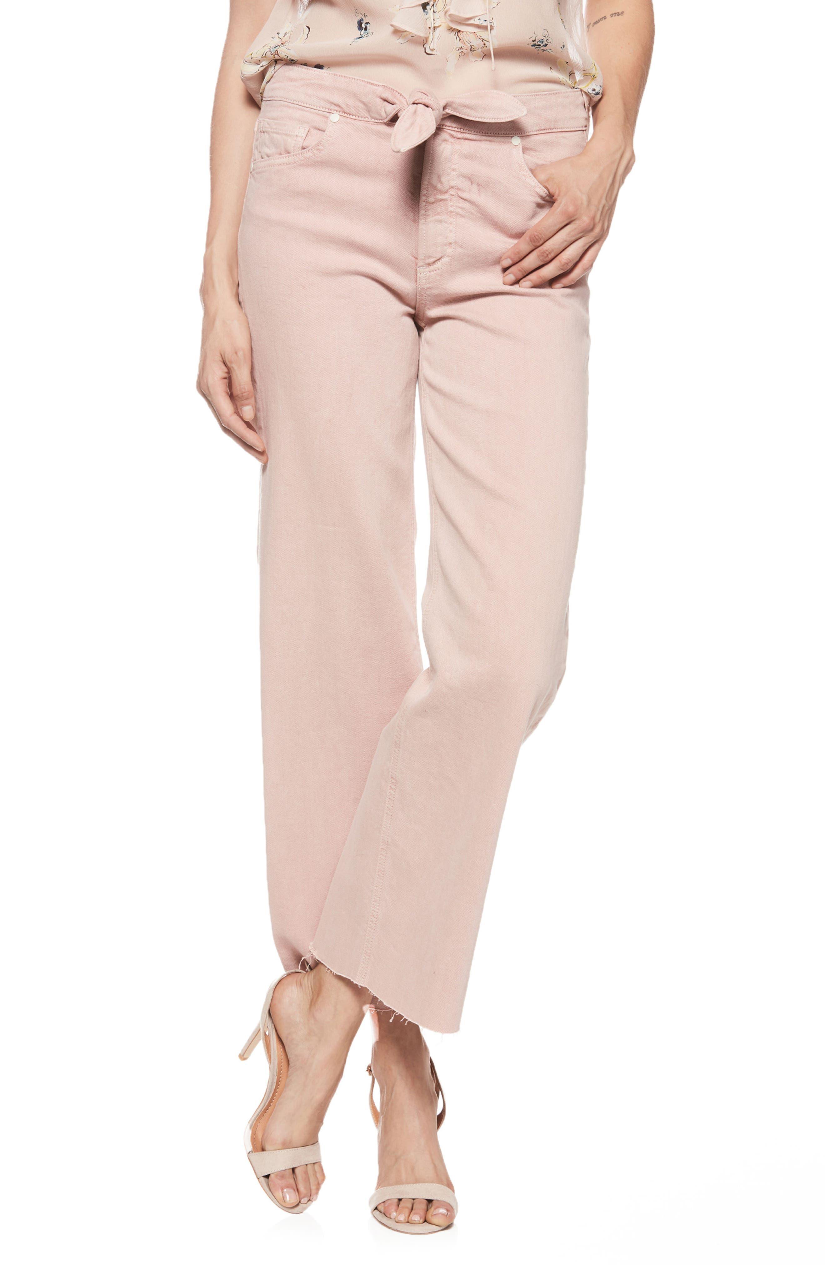 Nellie Knot Raw Hem Culotte Jeans,                             Main thumbnail 1, color,                             Vintage California Rose
