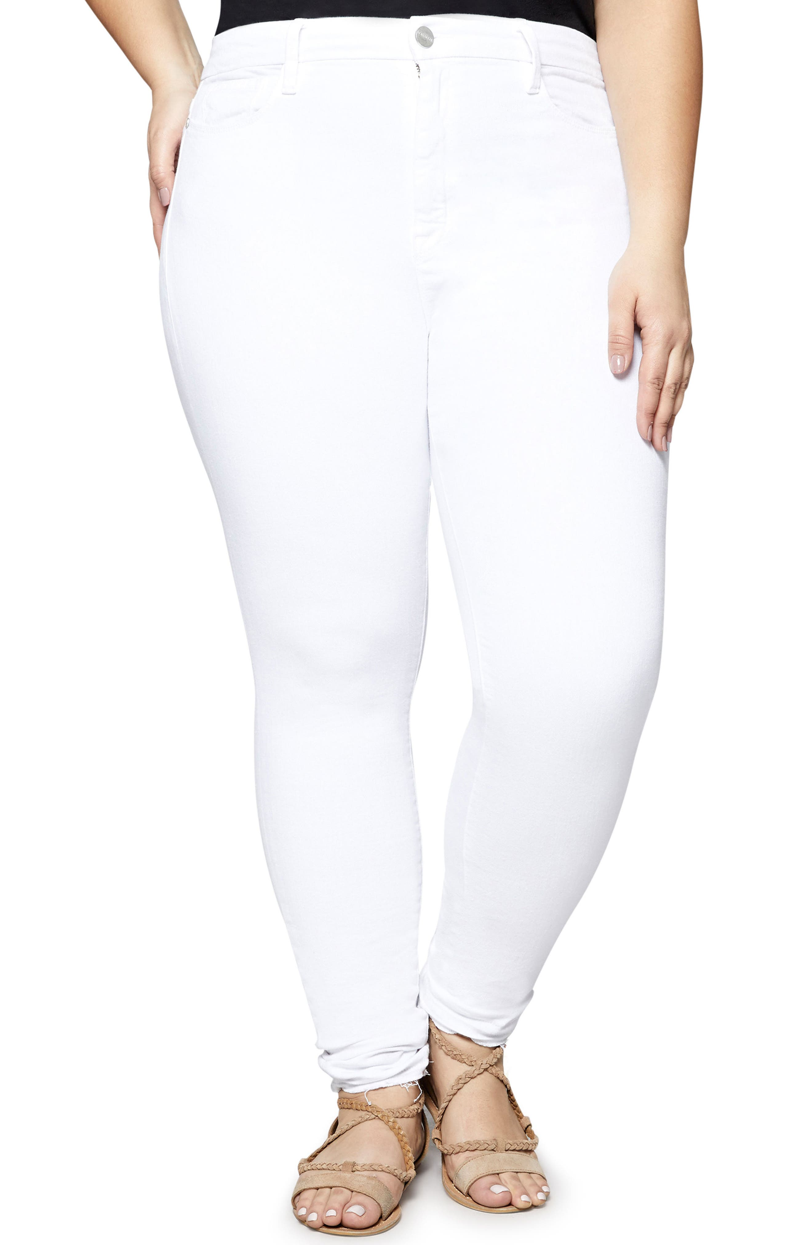 Saige Skinny Jeans,                         Main,                         color, White