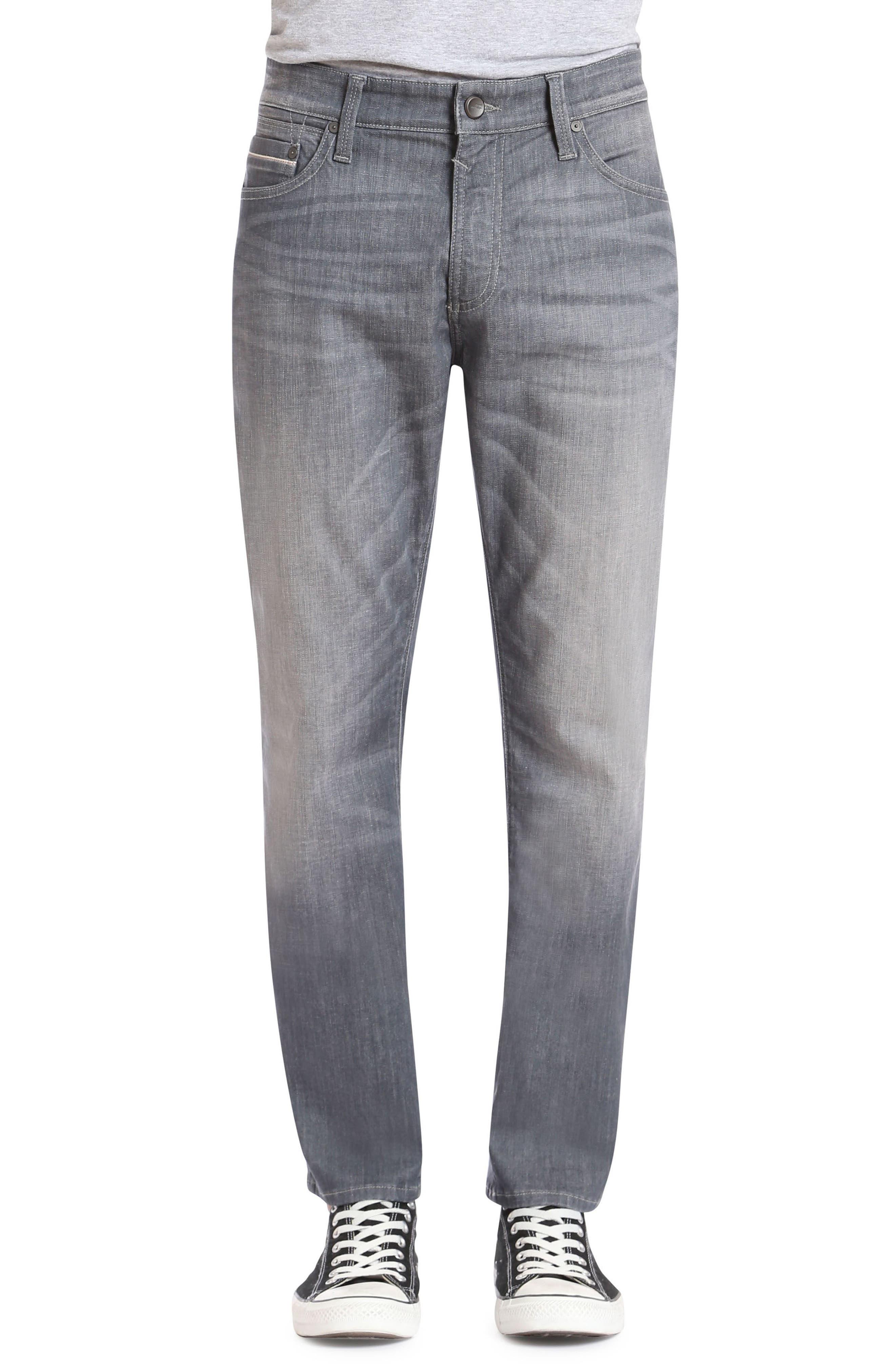 Marcus Slim Straight Leg Jeans,                         Main,                         color, Light Grey White Edge