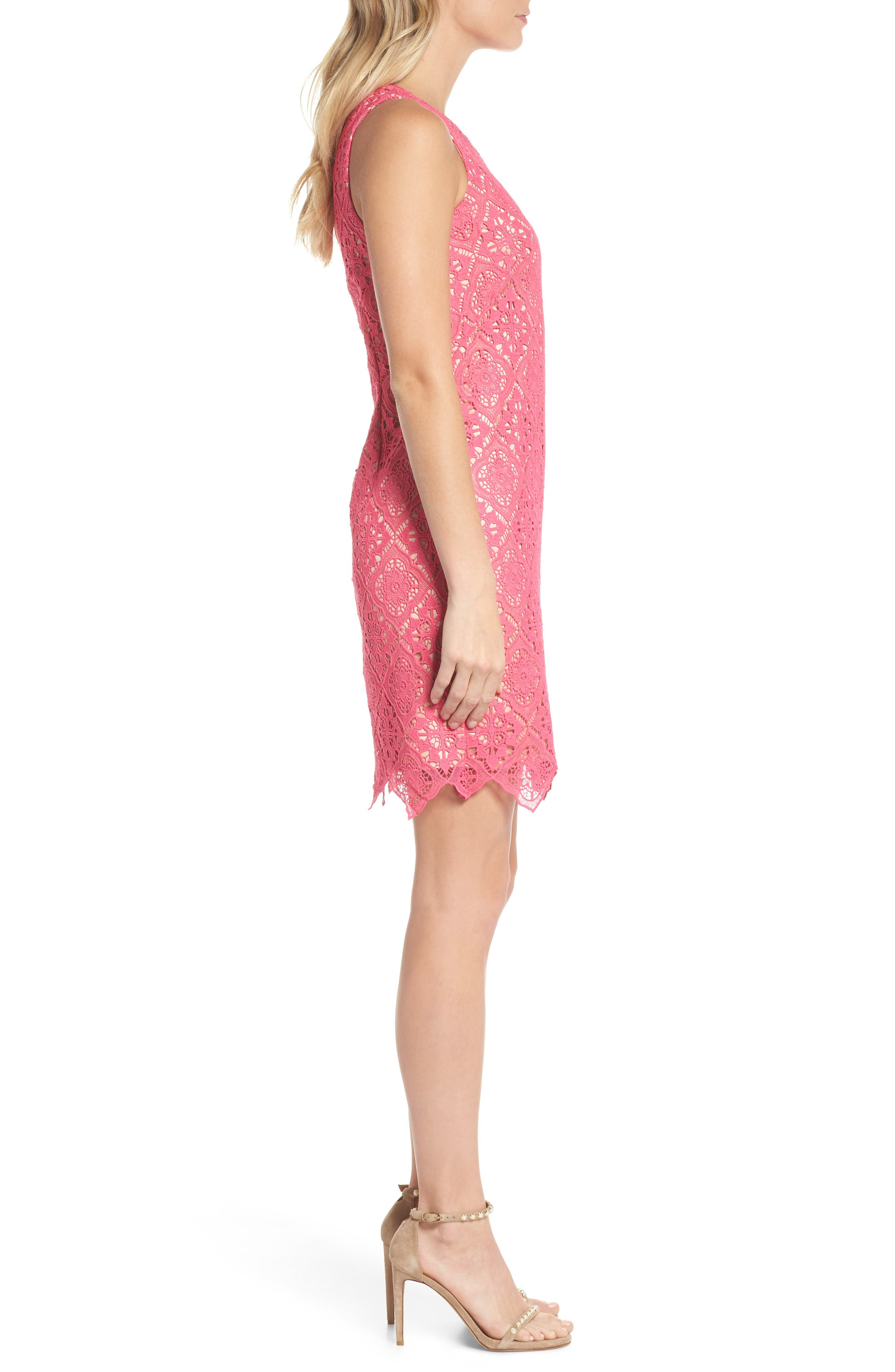 Sleeveless Lace Shift Dress,                             Alternate thumbnail 3, color,                             Hot Pink