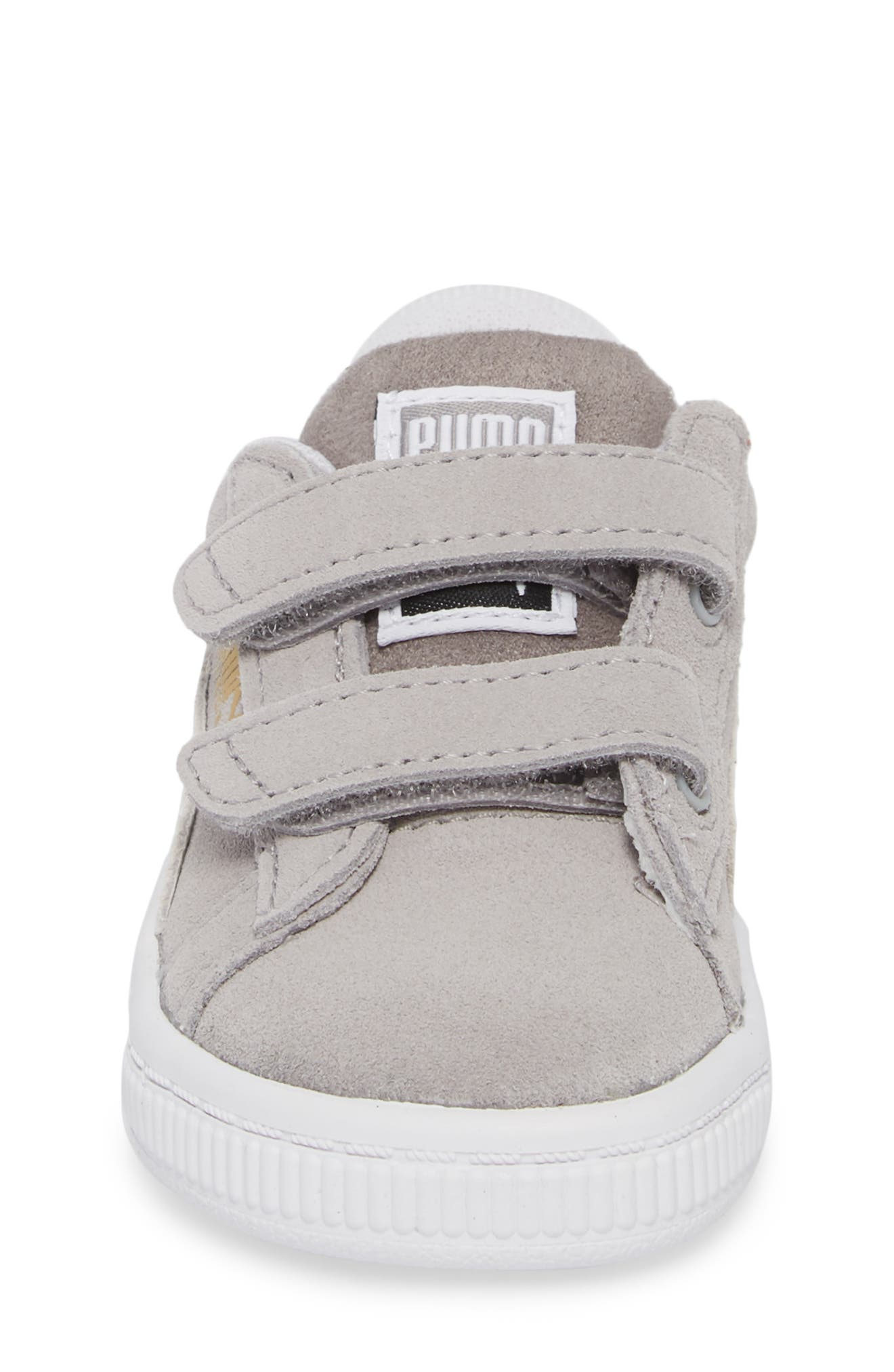 Suede Classic Sneaker,                             Alternate thumbnail 4, color,                             Ash/ Puma White