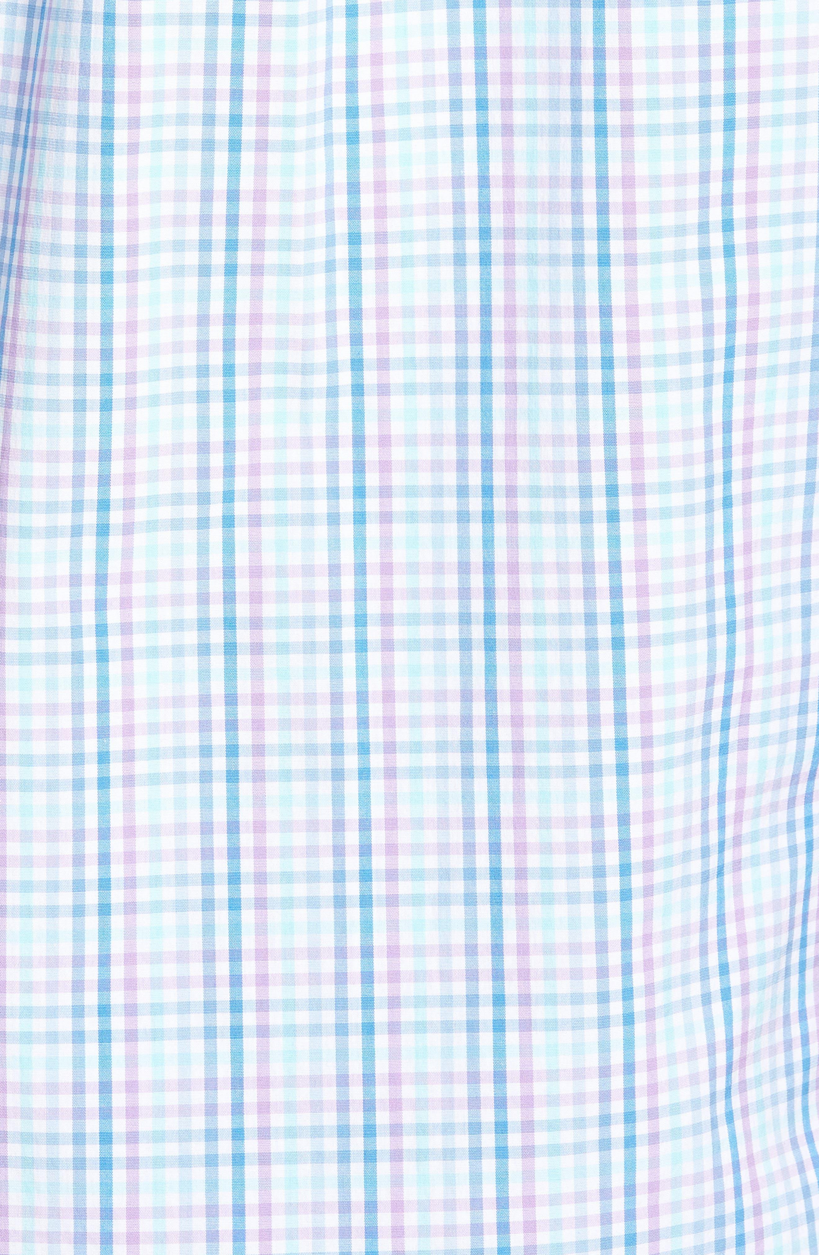 Friendly Island Classic Fit Stretch Check Sport Shirt,                             Alternate thumbnail 5, color,                             Sea Urchin