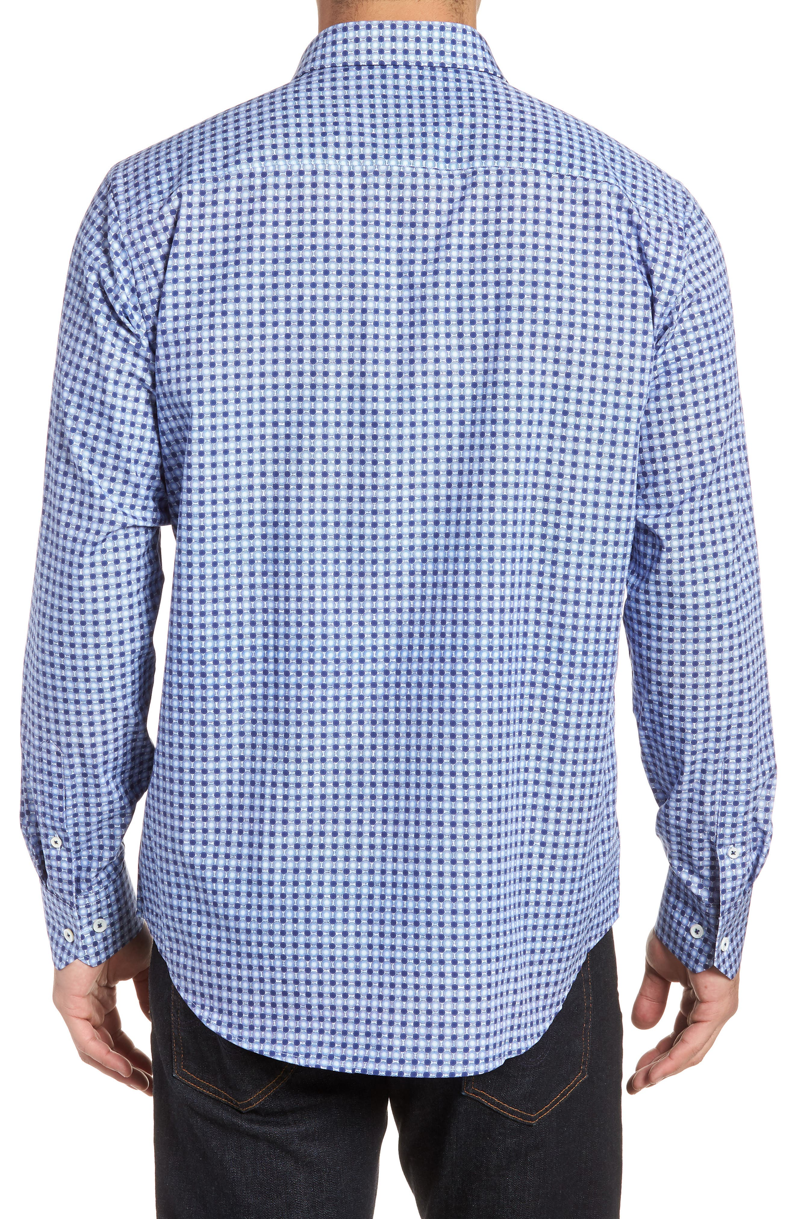 Classic Fit Woven Sport Shirt,                             Alternate thumbnail 2, color,                             Navy