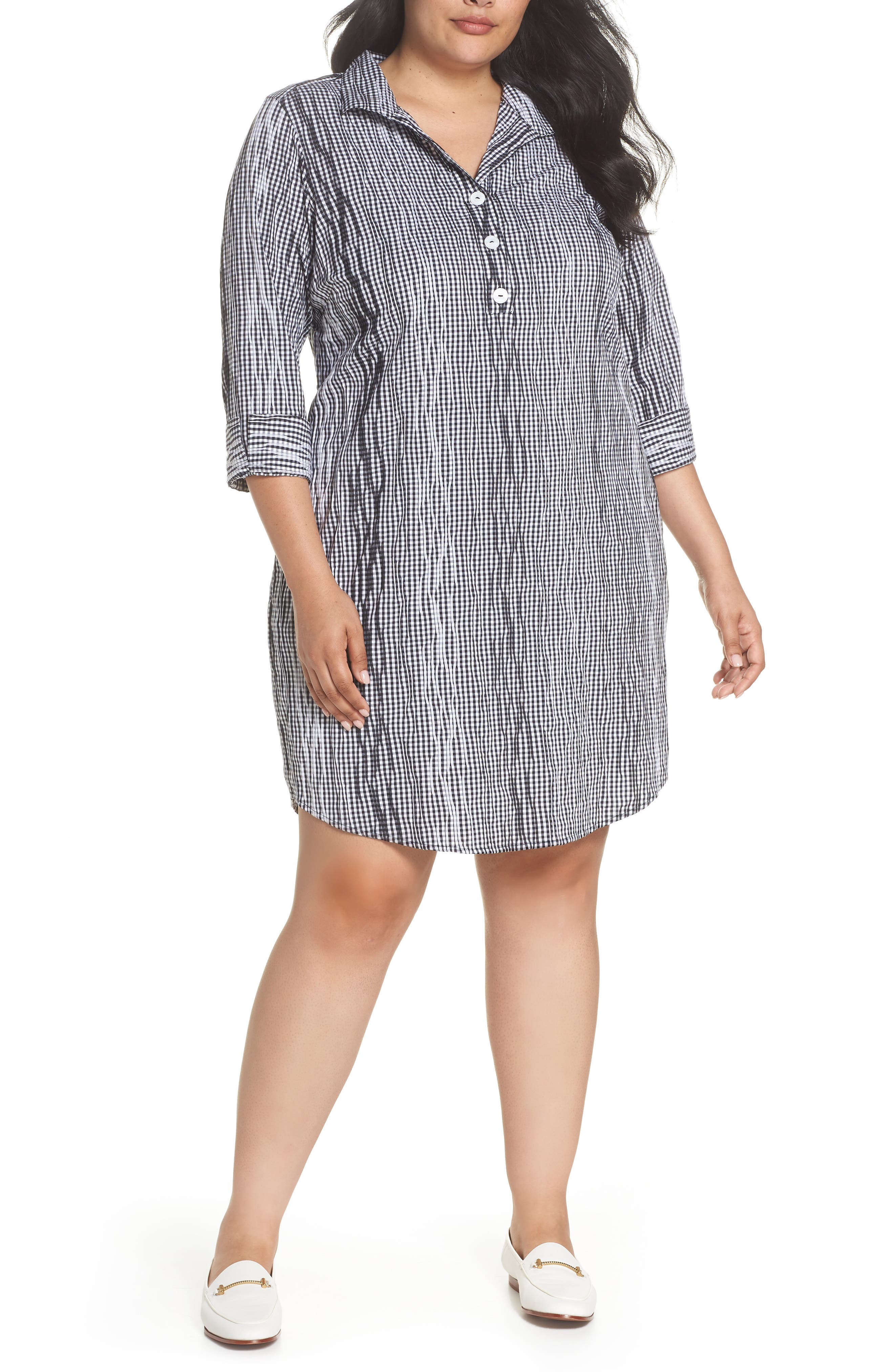 Foxcroft Miri Crinkle Gingham Shirtdress (Plus Size)