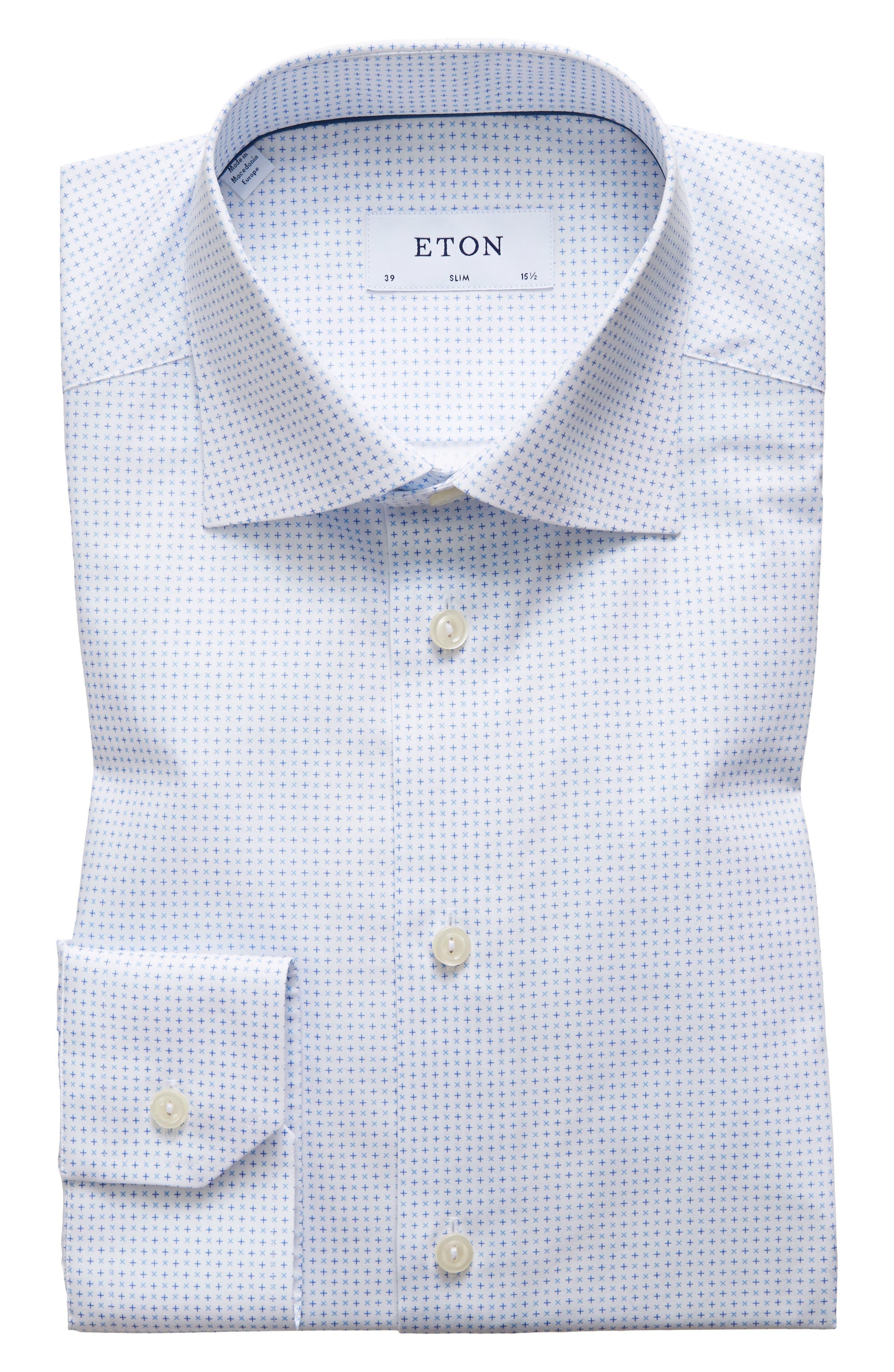 Eton Slim Fit Cross Print Dress Shirt