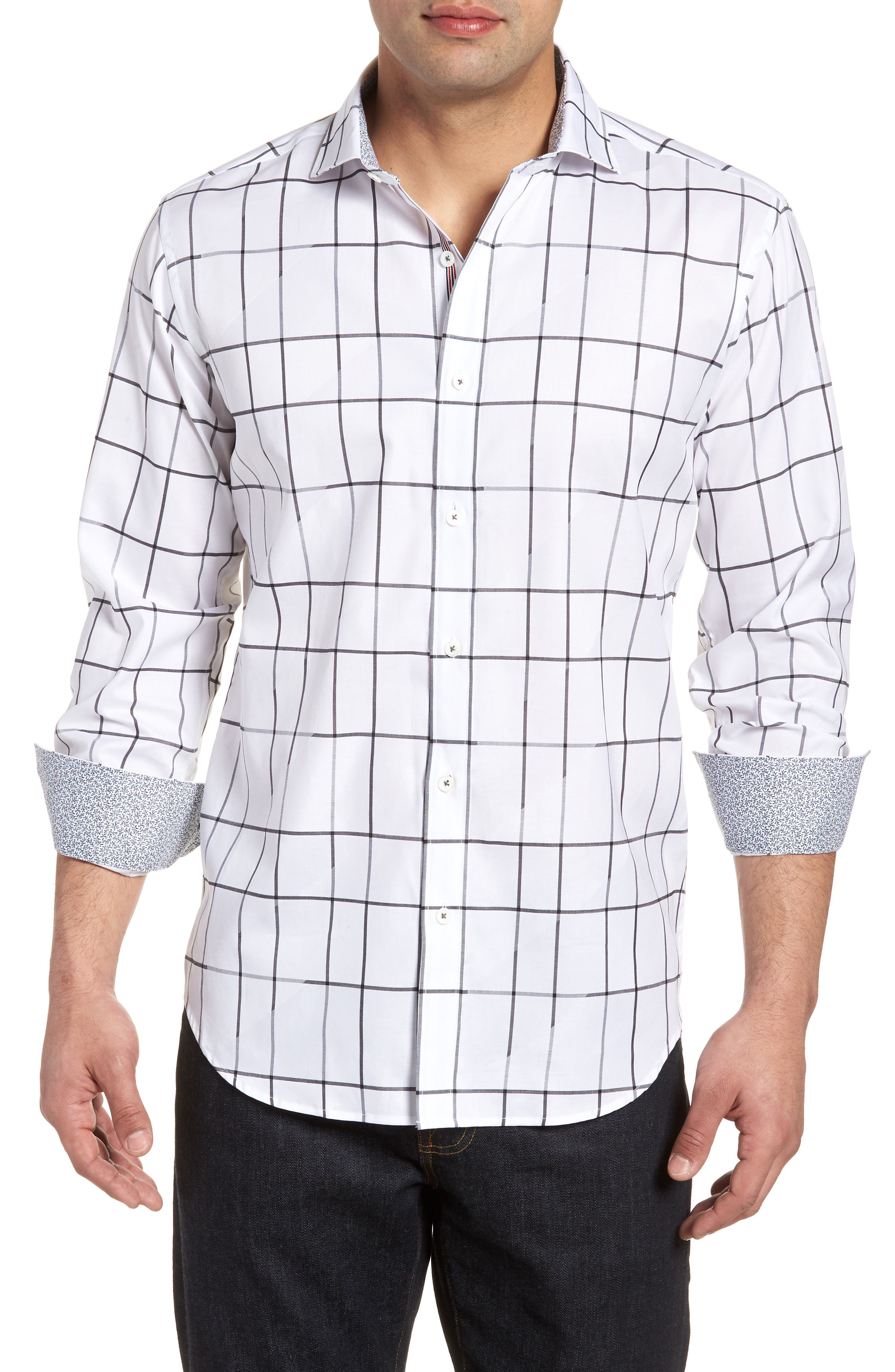 Shaped Fit Check Sport Shirt,                         Main,                         color, White