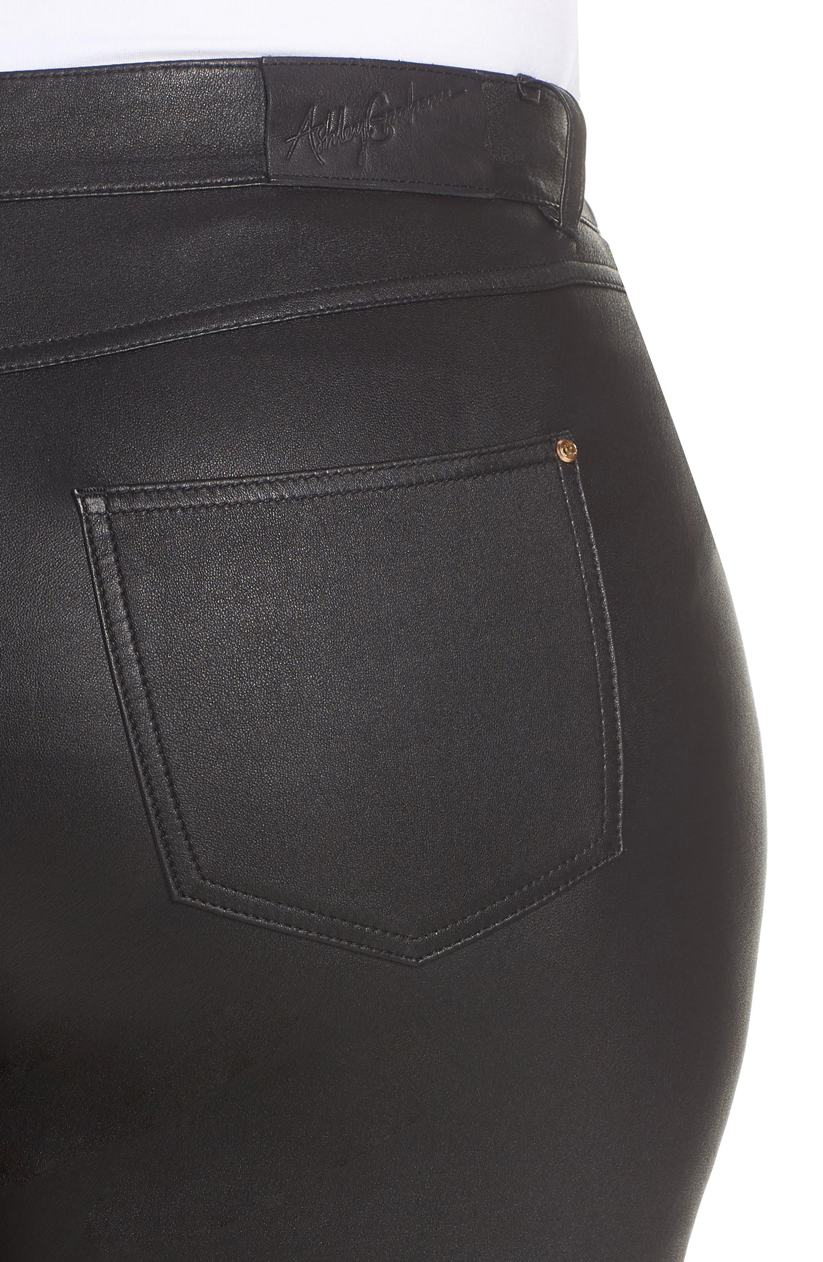 Eboli Leather Pants,                             Alternate thumbnail 4, color,                             Black