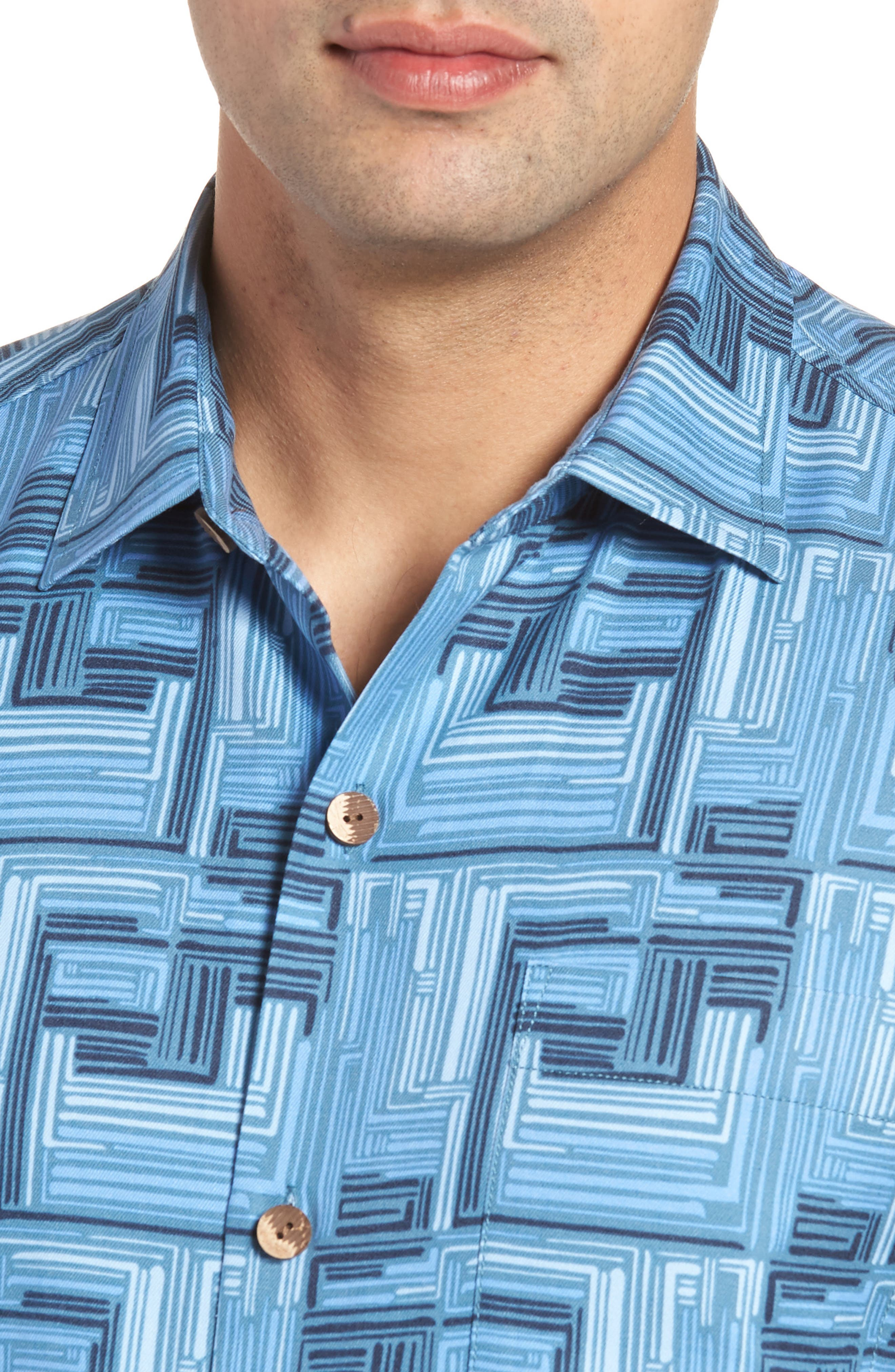Mayan Maze Silk Blend Performance Camp Shirt,                             Alternate thumbnail 2, color,                             Ocean Deep